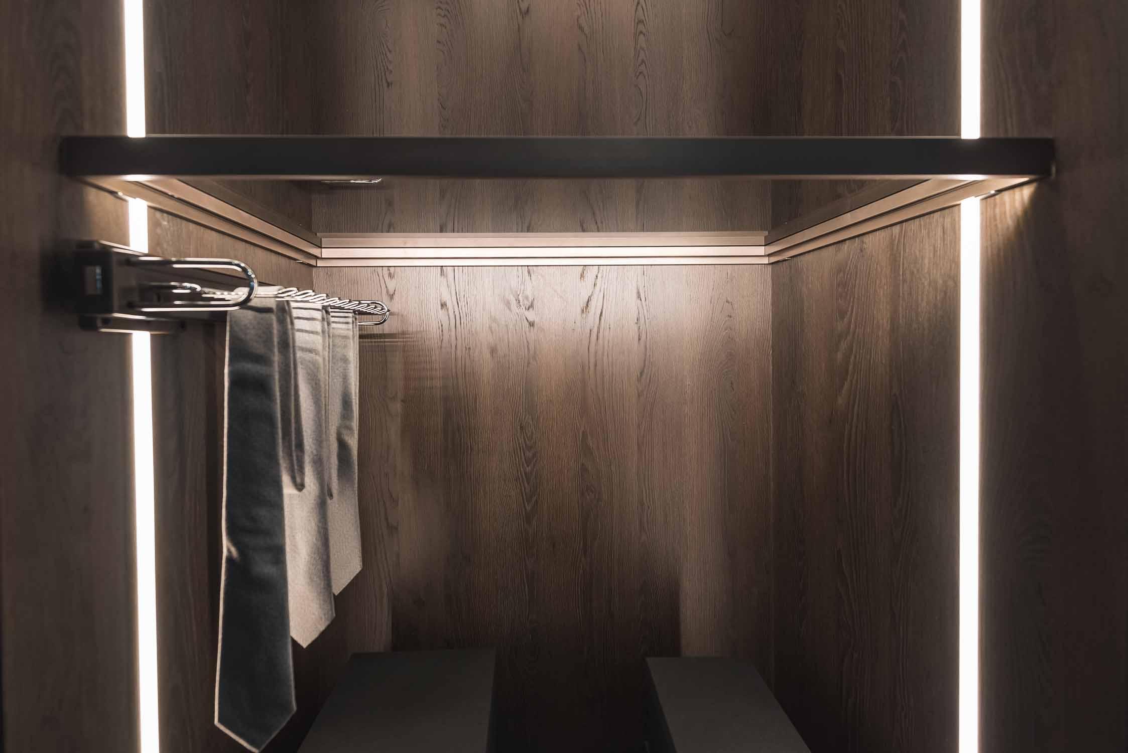 Linear Glass Fitted Wardrobe Glass LED Shelf