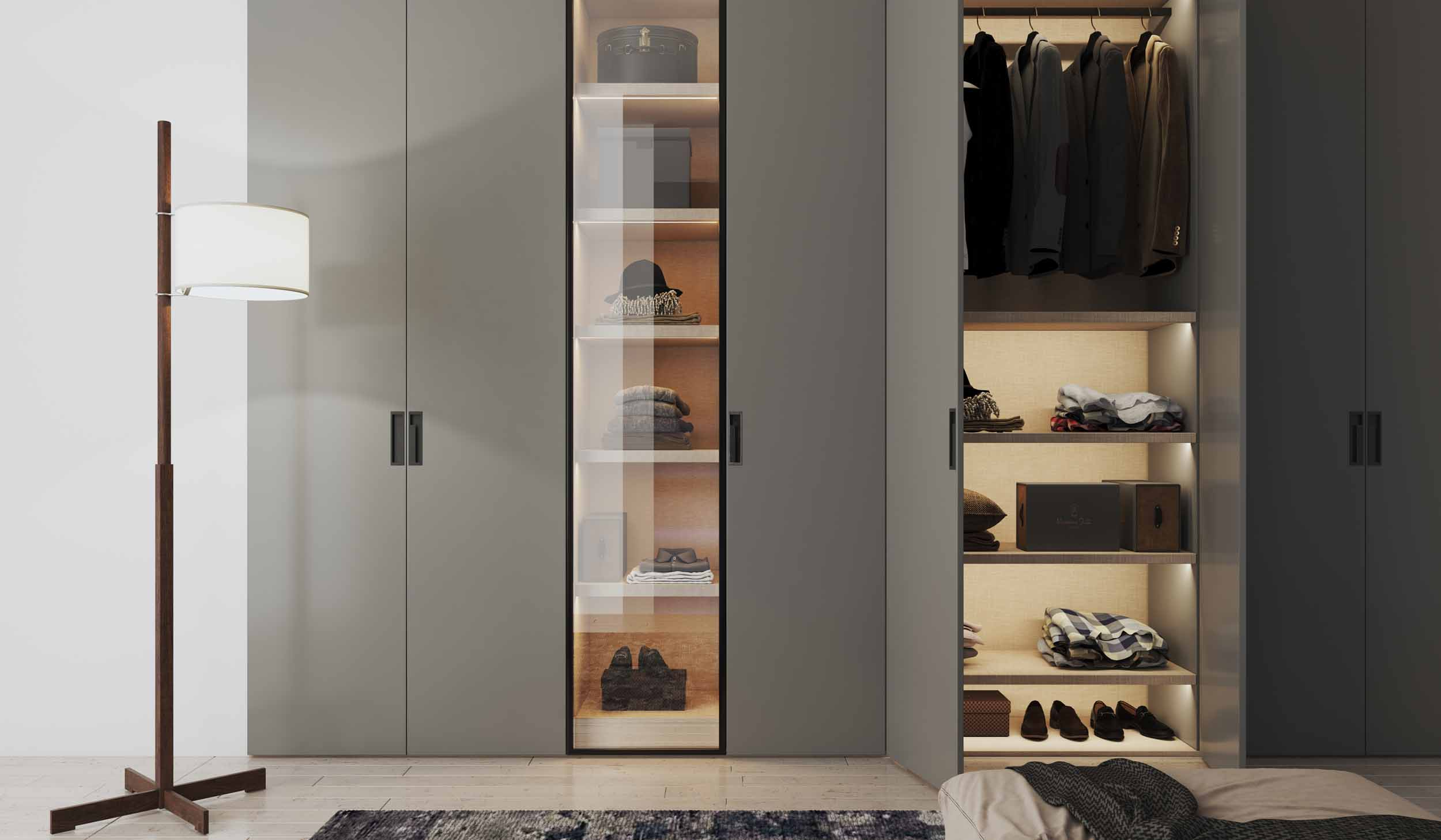 Hinged fitted wardrobe with Linear glass shelf unit with Dust grey finish