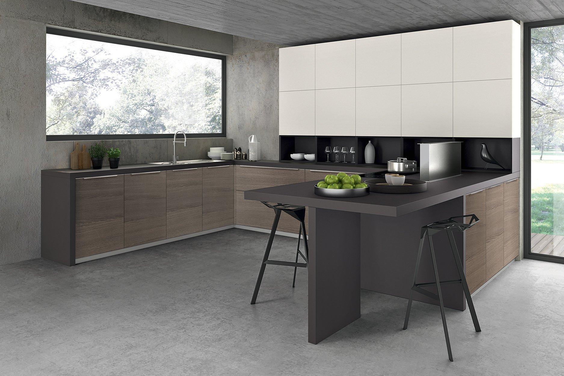 Kitchen Woodgrain Finish With Matt White Combination