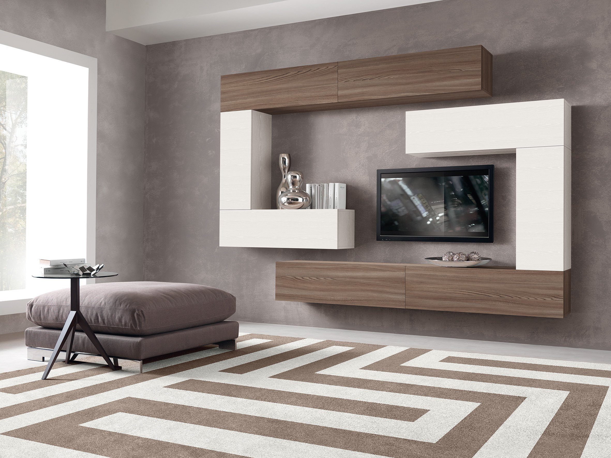 TV unit in matt white and woodgrain finish