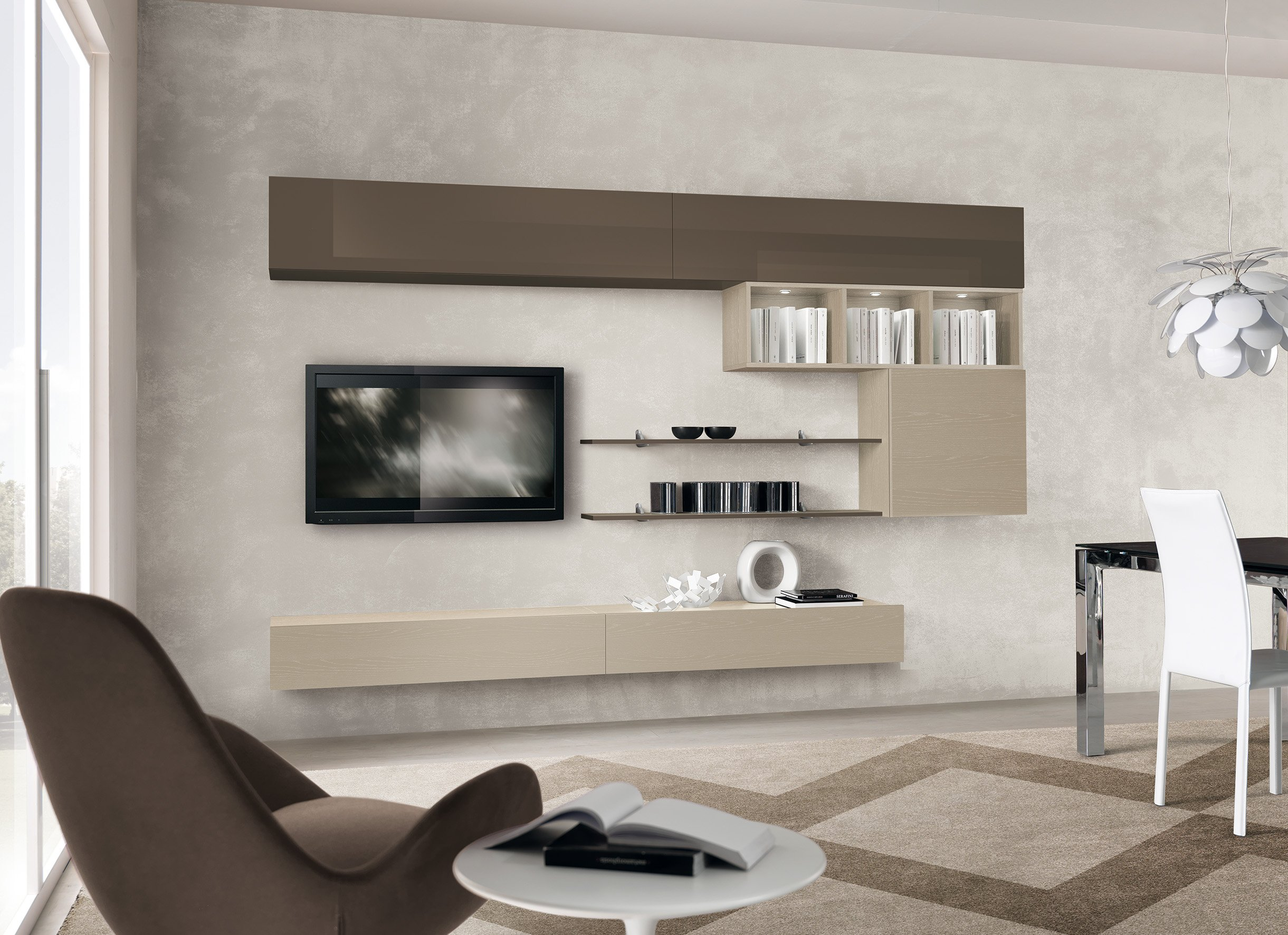 TV unit with display shelving