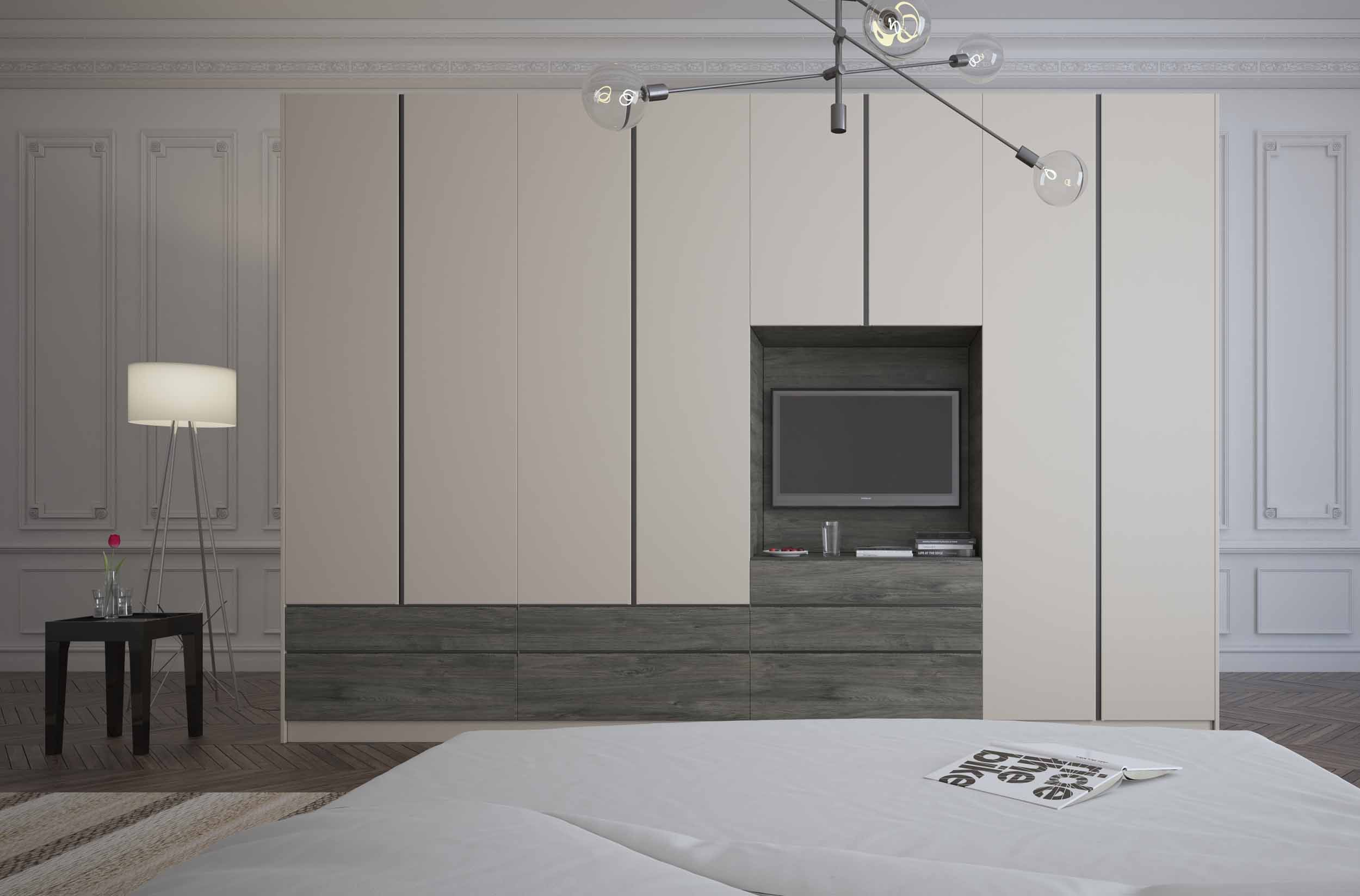 Handleless Hinged Fitted wardrobe with tv space in matt and woodgrain finish