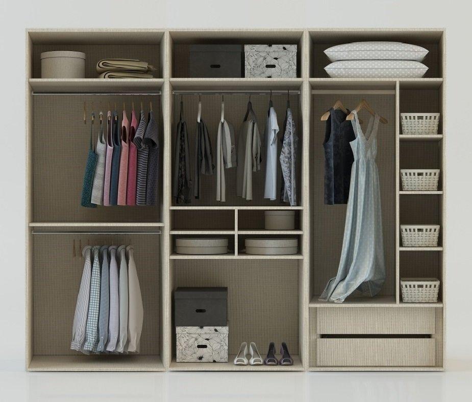 Internal Fitted Wardrobe Storage Layout With Internal Drawers Shirt Organizer