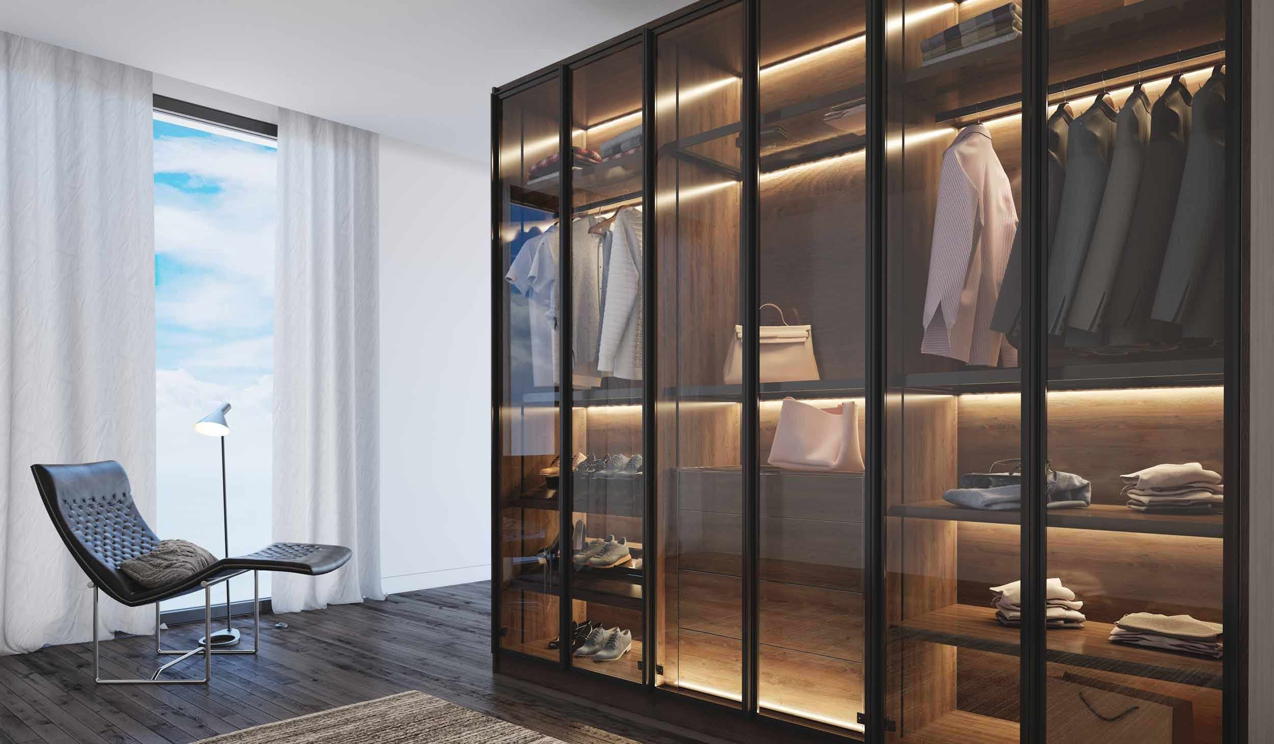 Linear glass fitted wardrobe with wood grain finish