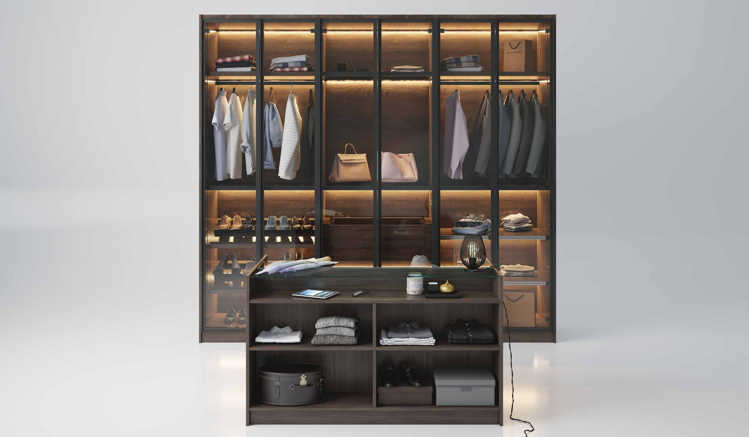 Linear Glass Fitted Wardrobe Doors Wood Grain Finish With Island and Close Up