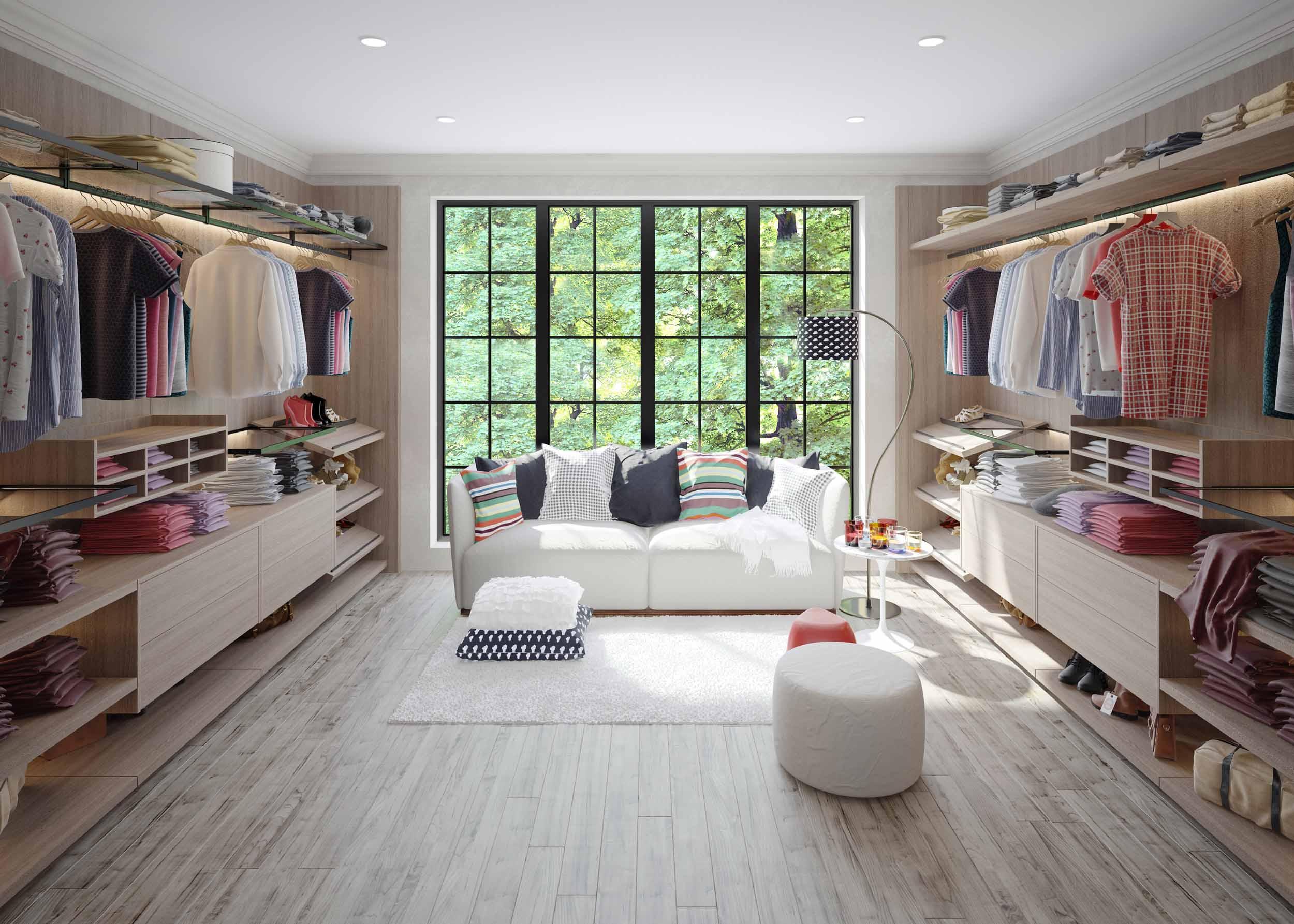 Linear Walkin fitted wardrobe with vertiko profile woodgrain finish
