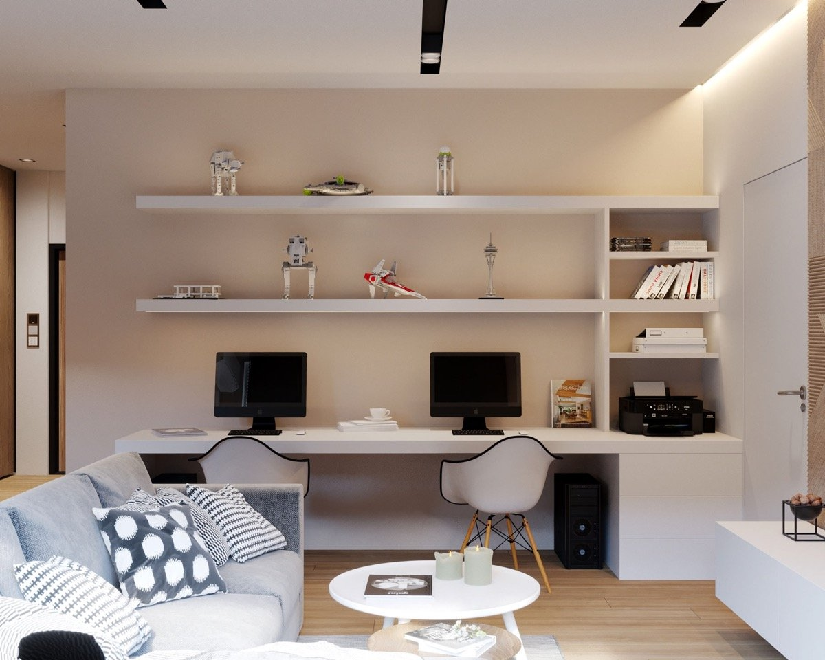 Small Living Room and Home Office Area