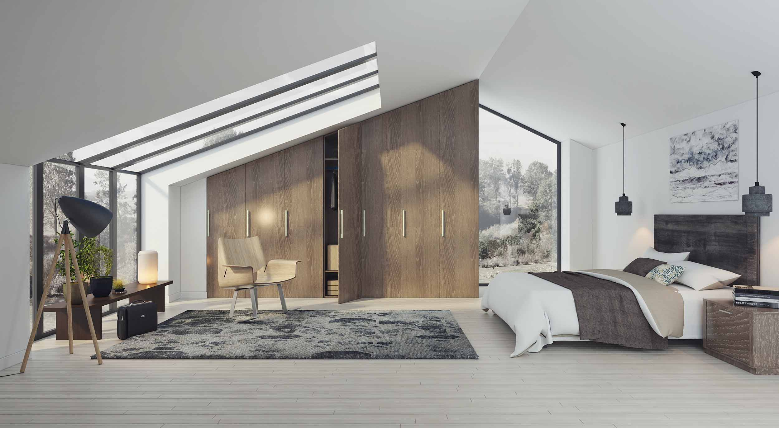 Loft Angled Fitted Wardrobe With Wood Grain Finish