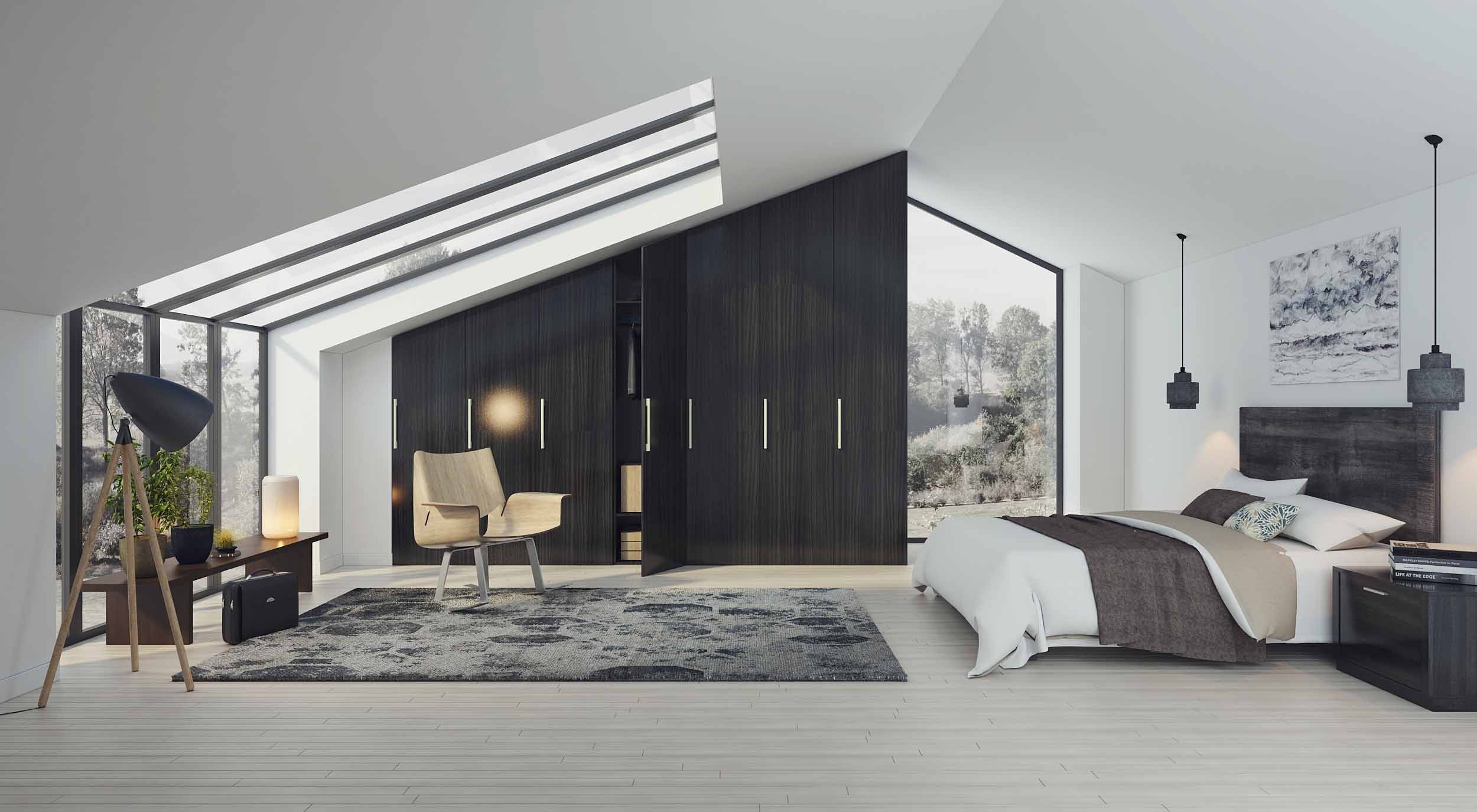 Loft Angled Fitted Wardrobe With Black Wood Grain Finish