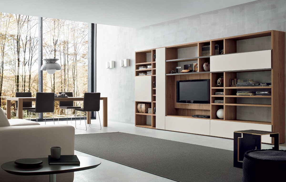 Lounge storage with TV unit in matt cream and wood grain finish