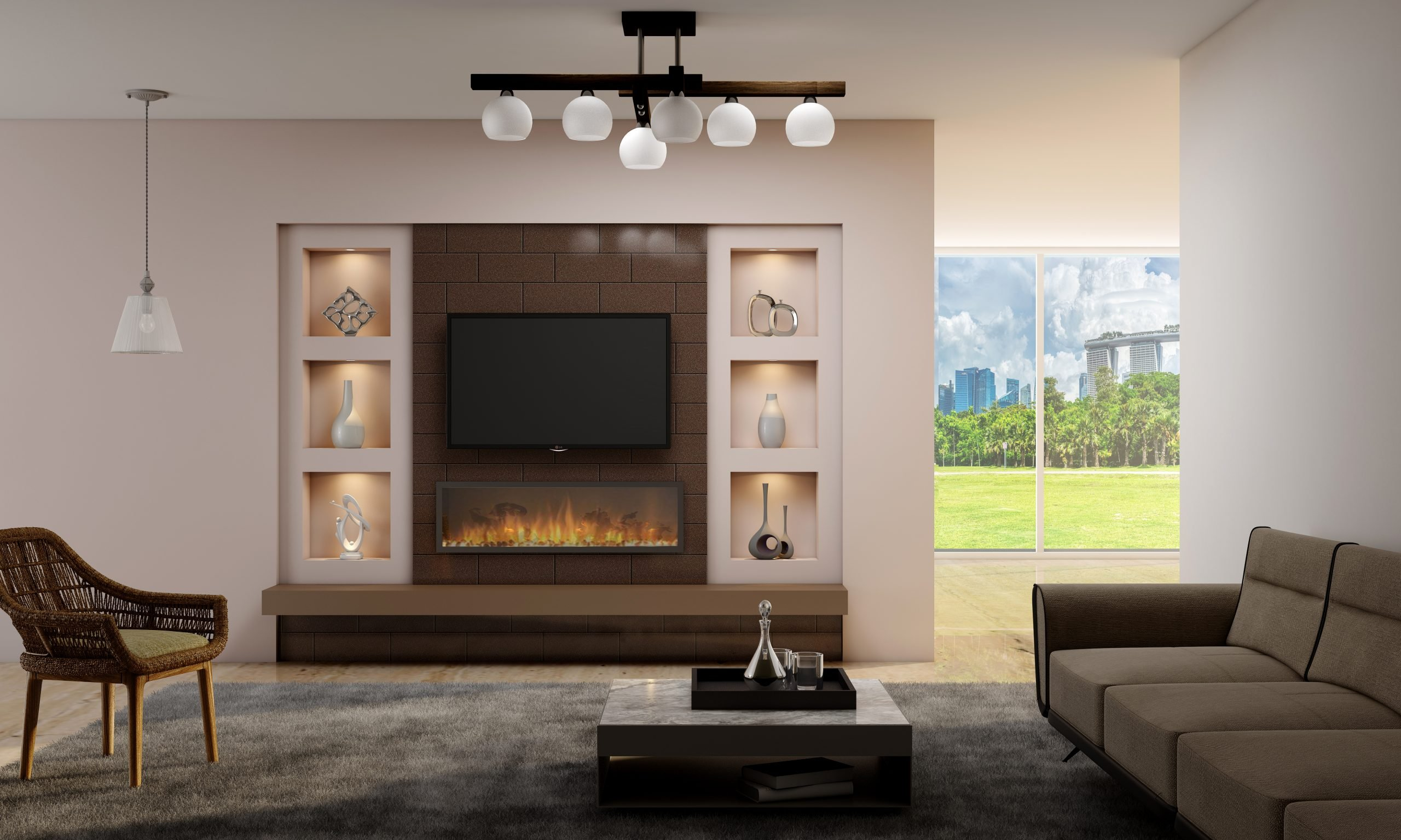 Wall Mounted TV Unit with Lounge Set
