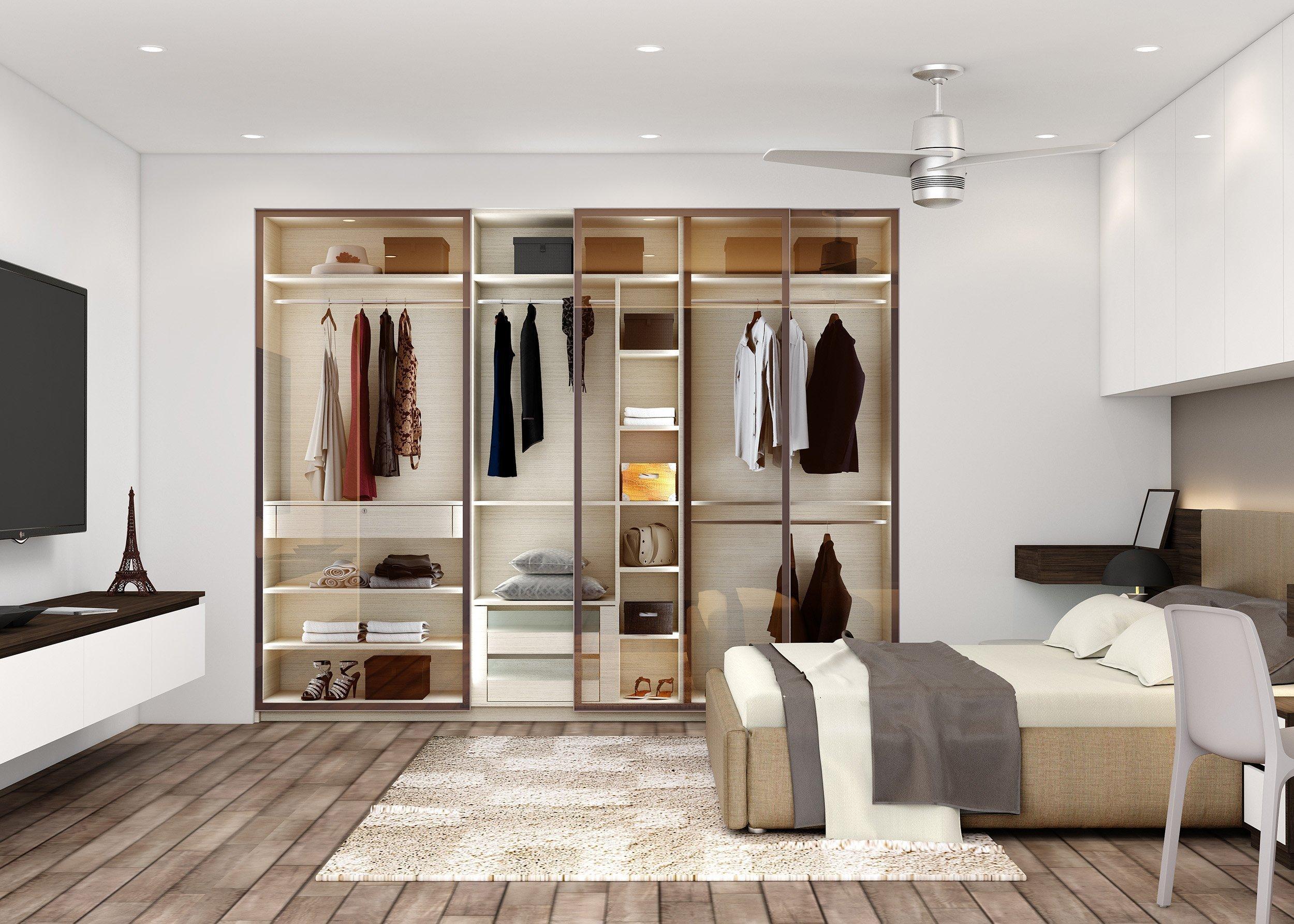 sliding wardrobe with bed bridging unit1