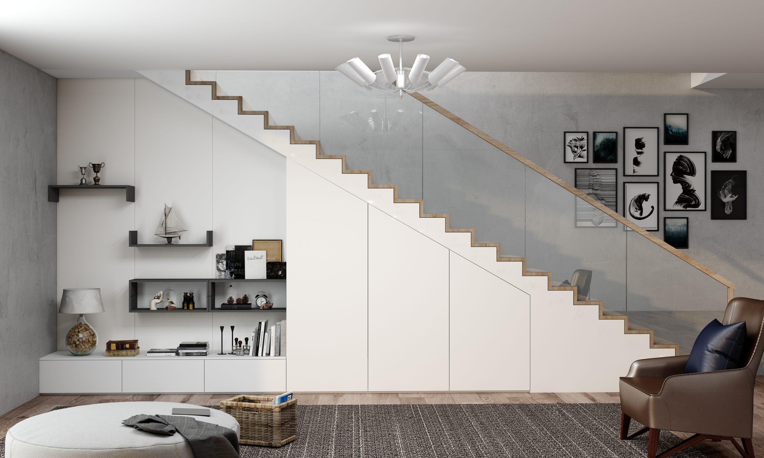Living staircase loft open shelf