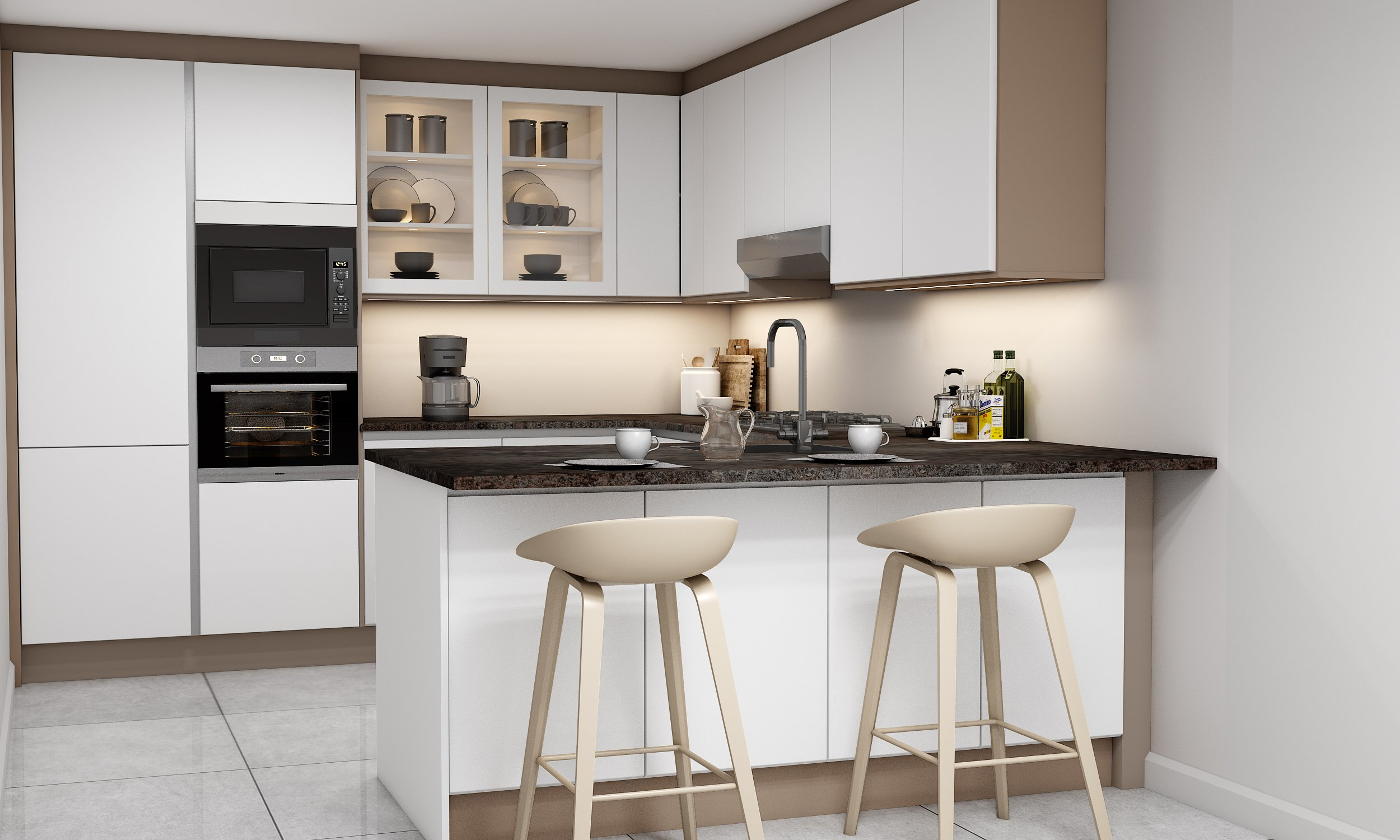 Fitted Kitchens With Lacquered Paint Finish