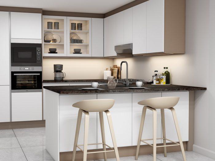 G shape Handleless Kitchen in White matt & Pebble finish with black handle profile