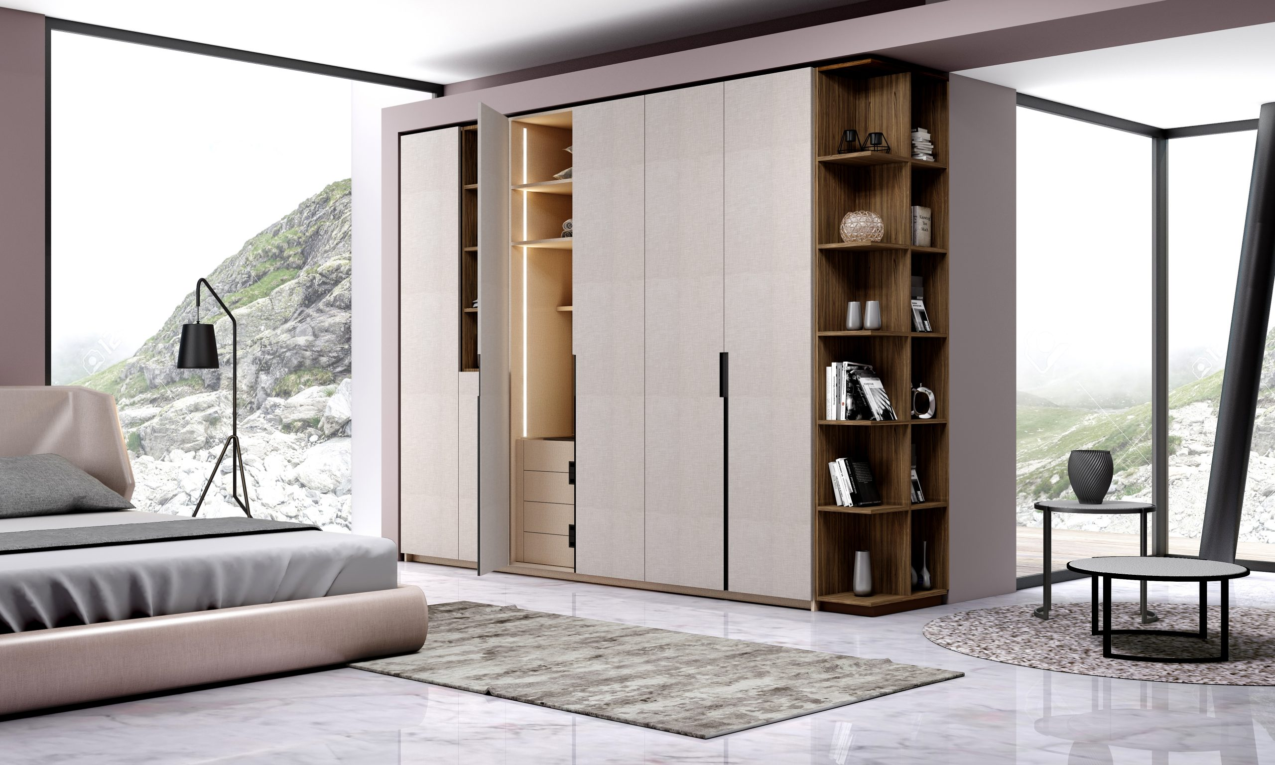Hinged Fitted Wardrobe with Dresser Unit in Black High Gloss Finish