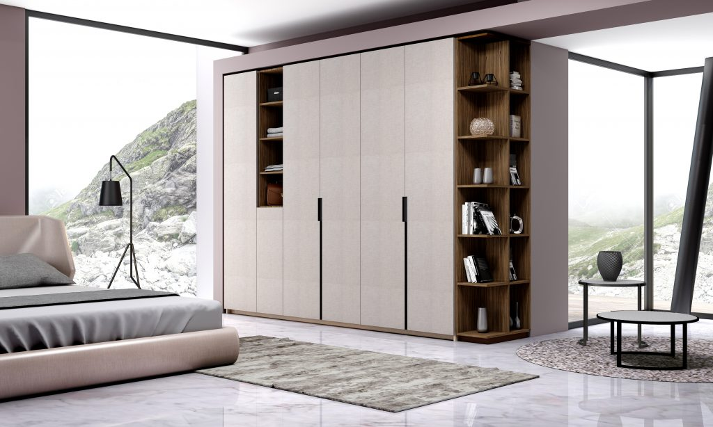Hinged Fitted Wardrobe with Open Shelves in Grey Linen Finish and Esperia Textured Finish 2