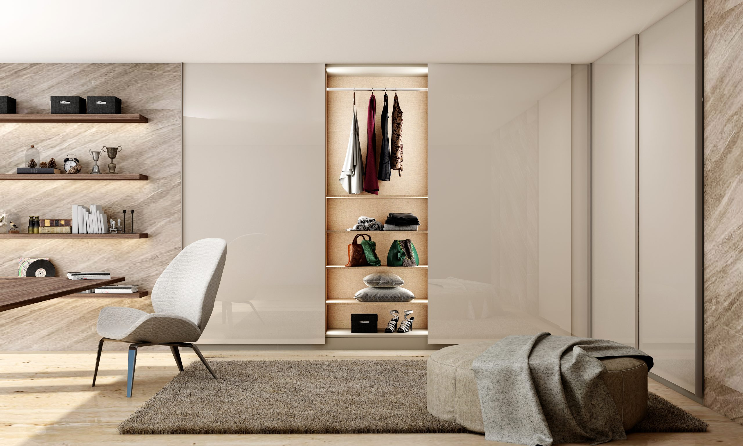 Lounge Set With Open Hinged Wardrobe with PG Light Grey