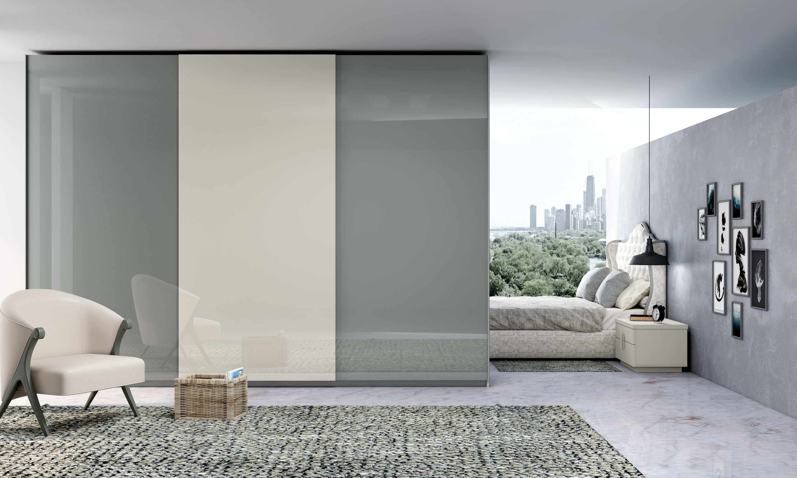 Fitted Sliding Wardrobe with Dust Gray and Light Grey