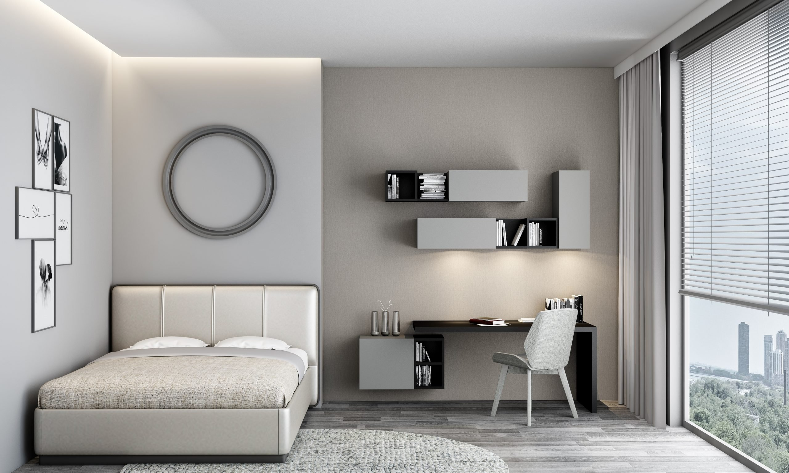 Bedroom With Dust Grey and Black