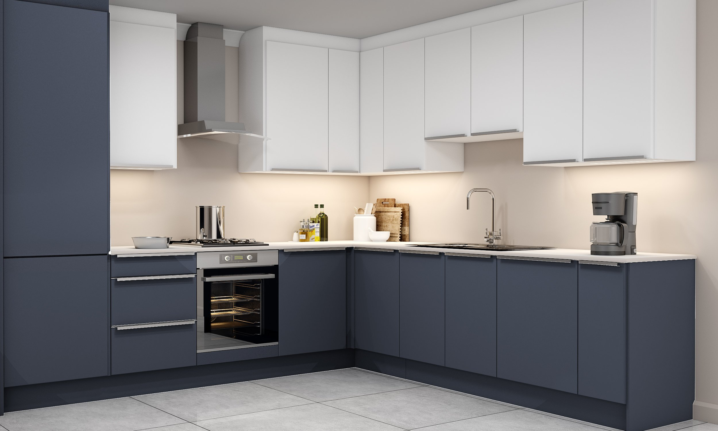 10ft X 10ft Kitchen With Profile Handle in Indigo Blue and White Matt