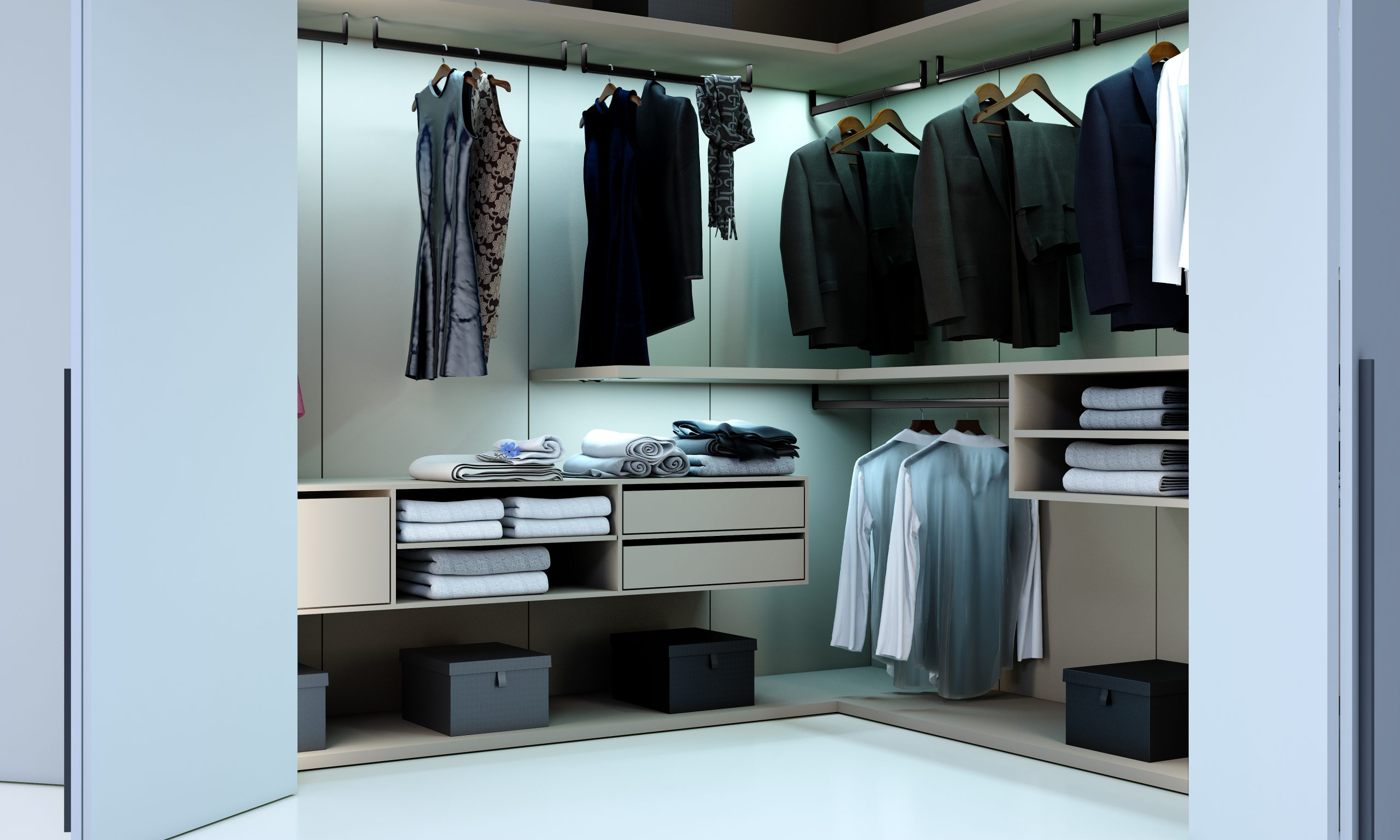 Bifold Small Walk in Wardrobe in Stone Grey Finish With Long Handles