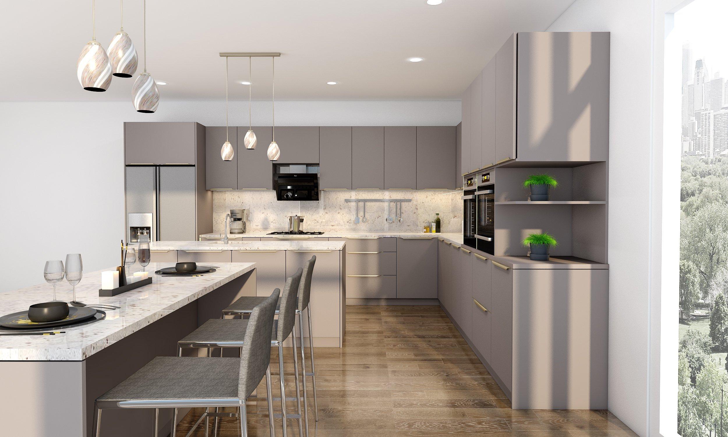 Easyline Golden Profile Handle L Shape Kitchen in Metallic-inox Finish With Double Island & Profile Gold Handle