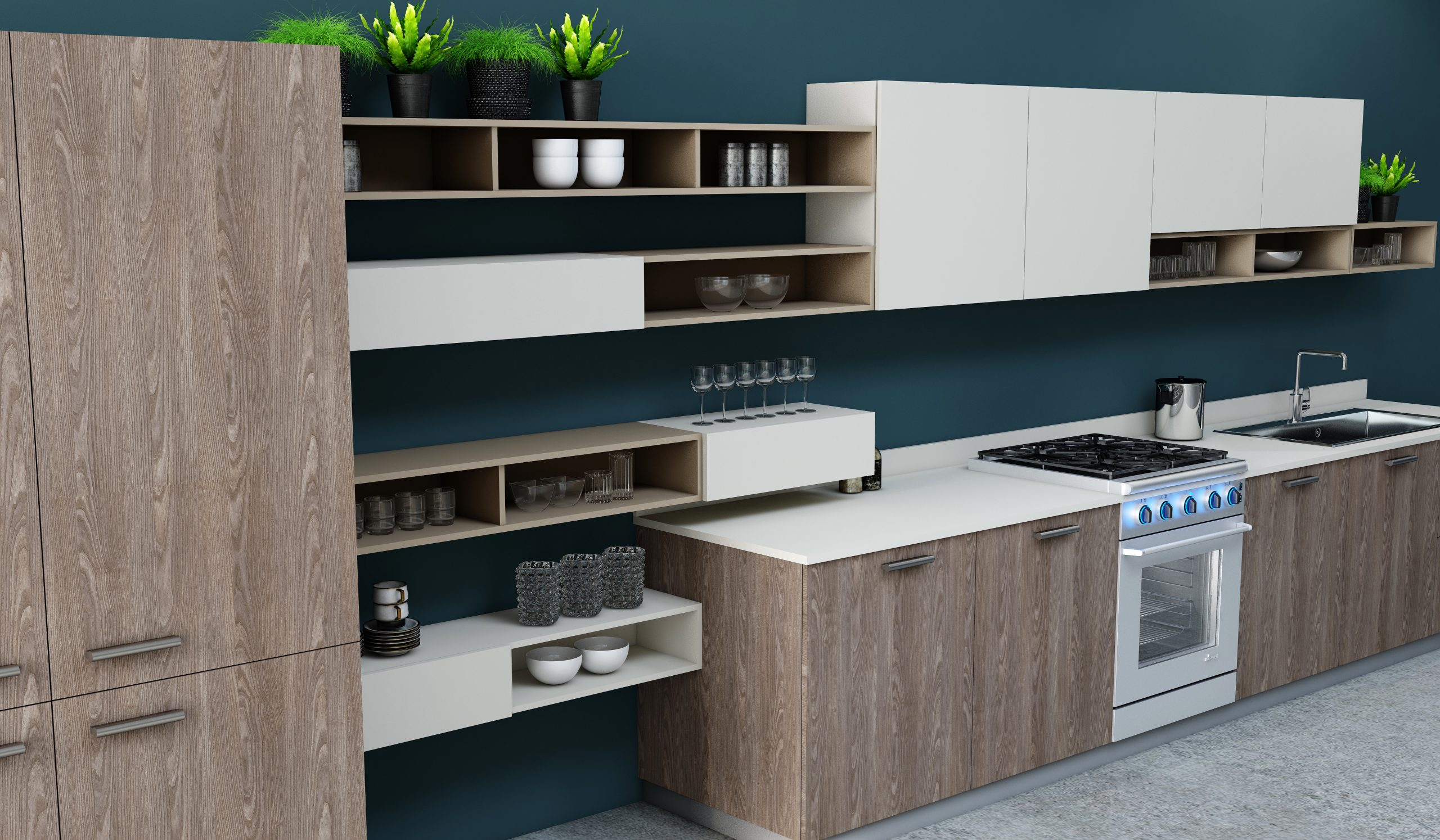 Easyline Fitted Small Kitchen with Alcove in Brown Orleans Oak woodgrain & Cream Matt Finish