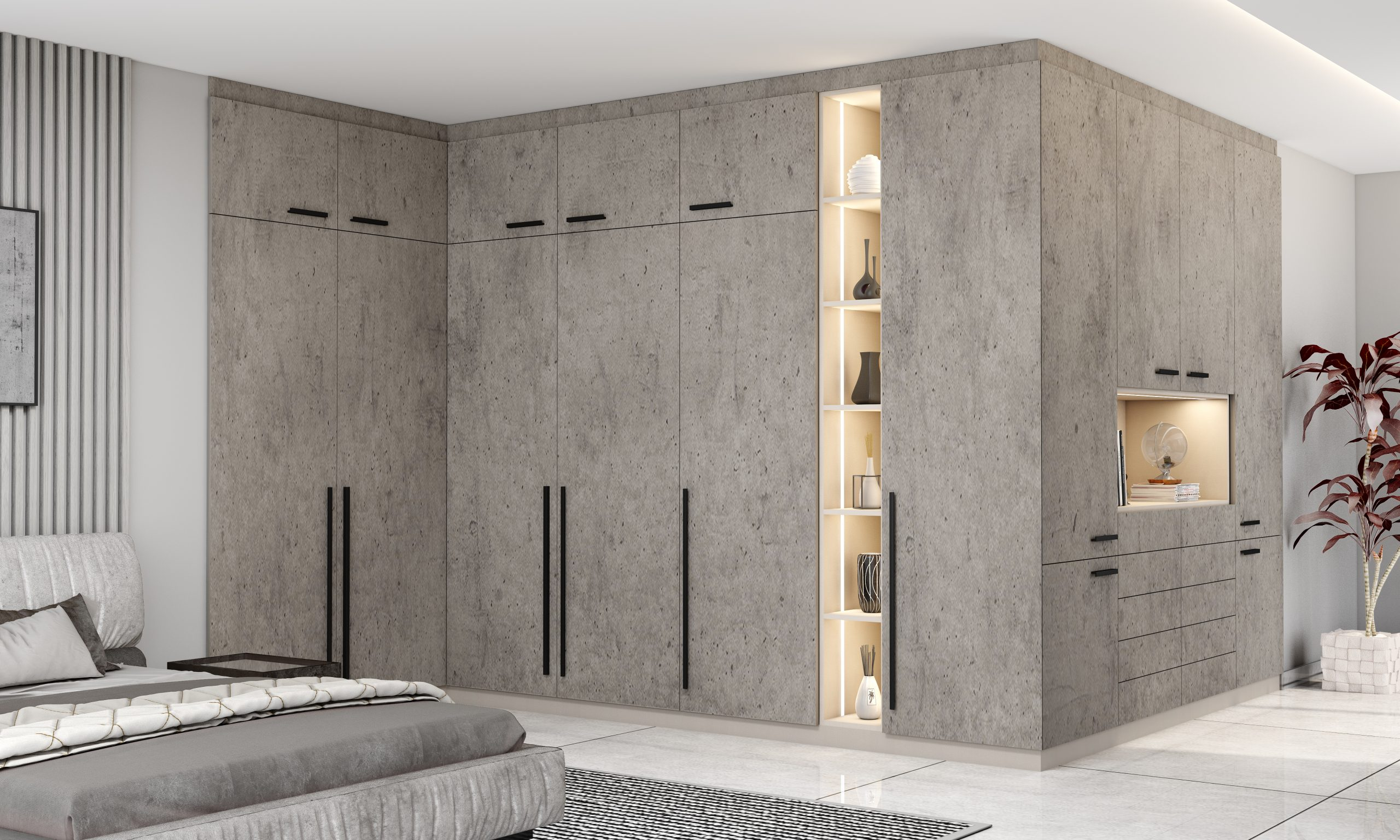 Fitted Hinged Corner Wardrobes in Concrete Finish