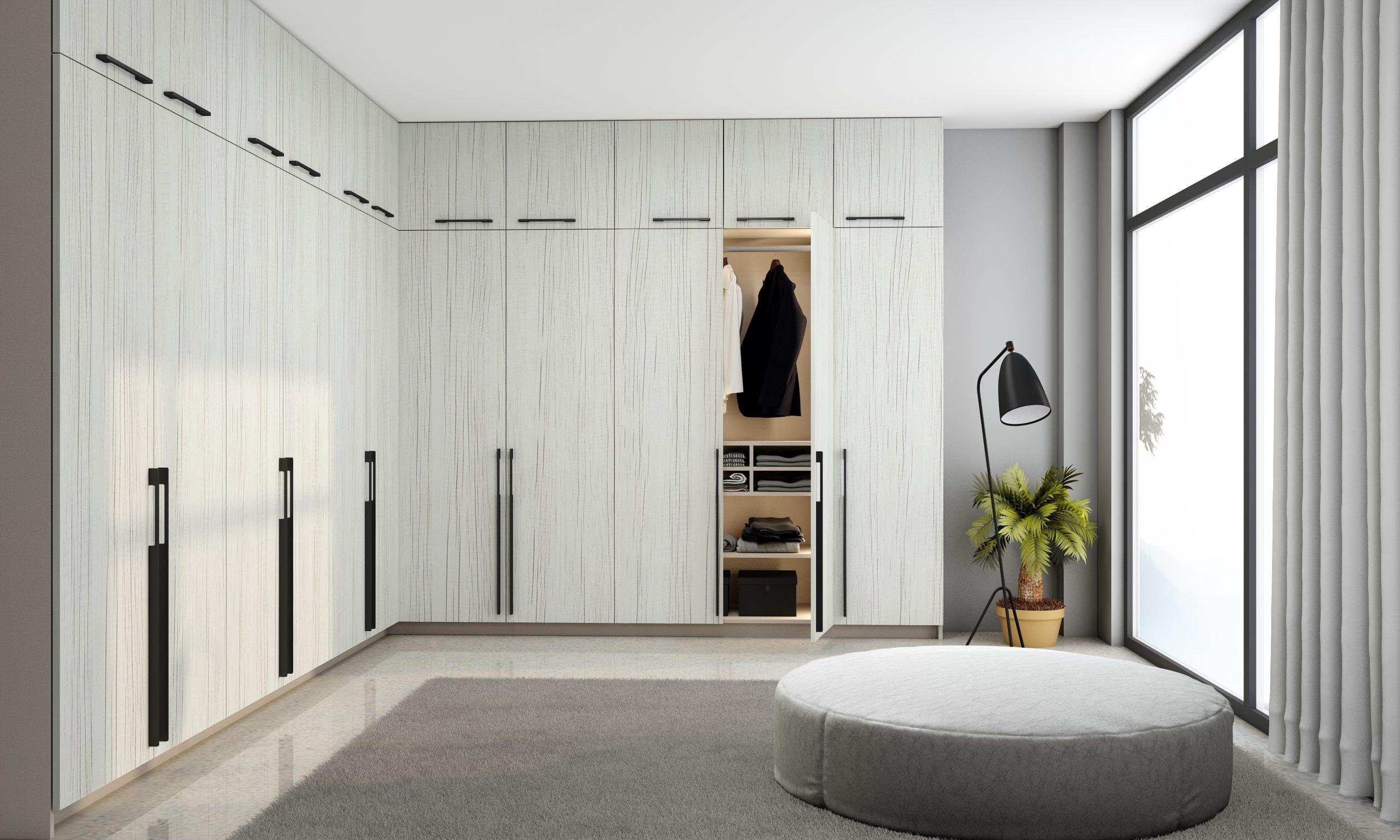 Fitted Hinged Corner Wardrobes in white woodgrain finish