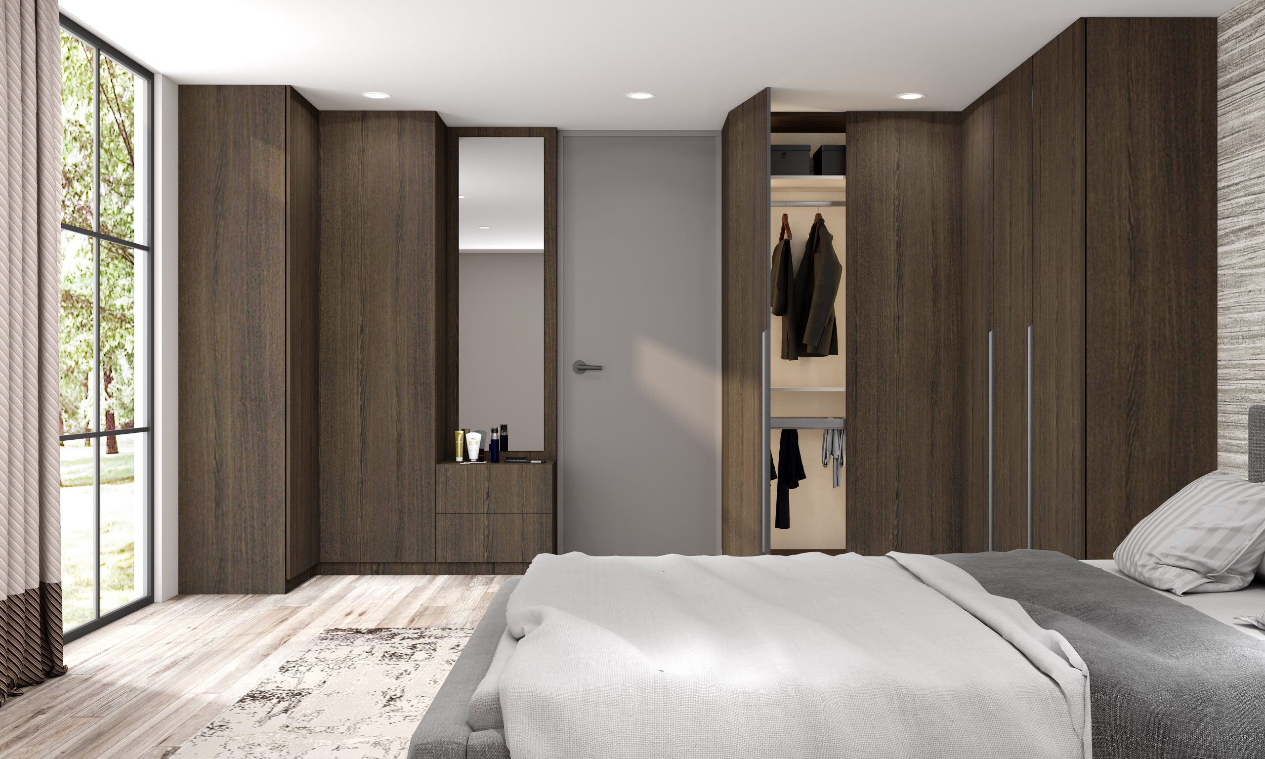 Fitted Hinged Corner Wardrobes in Woodgrain Finish 2