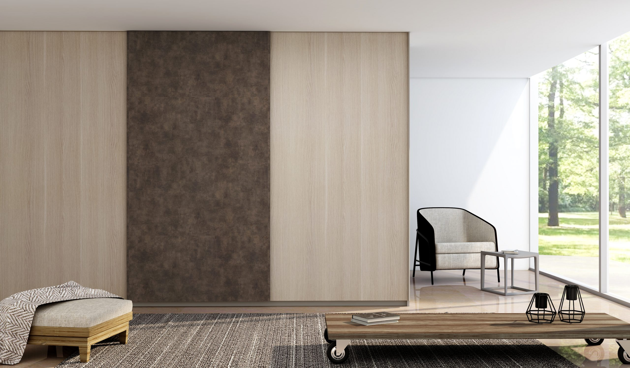 Fitted Sliding Wardrobe With Frameless Top Hung Doors in Combination of Cleaf Sablè and Cleaf Primofiore