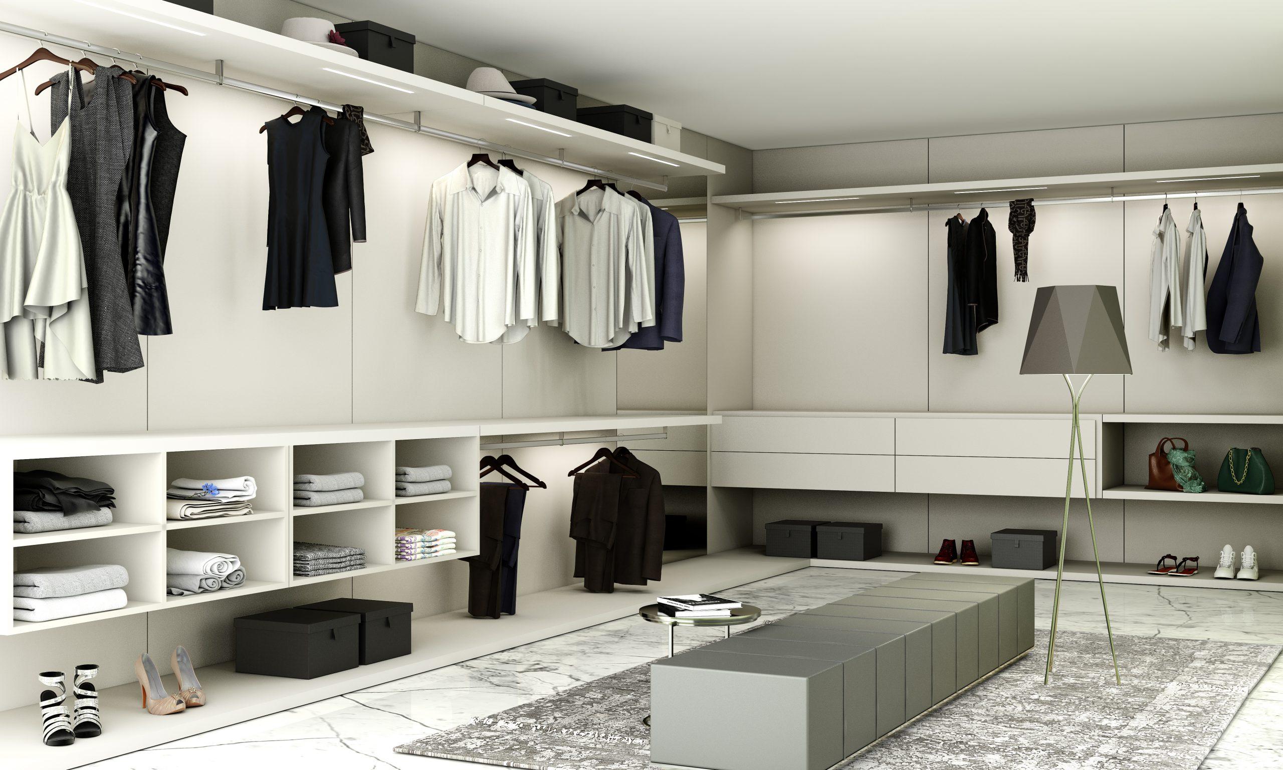 Luxury Walk-in Wardrobe in Light Grey Matt Finish