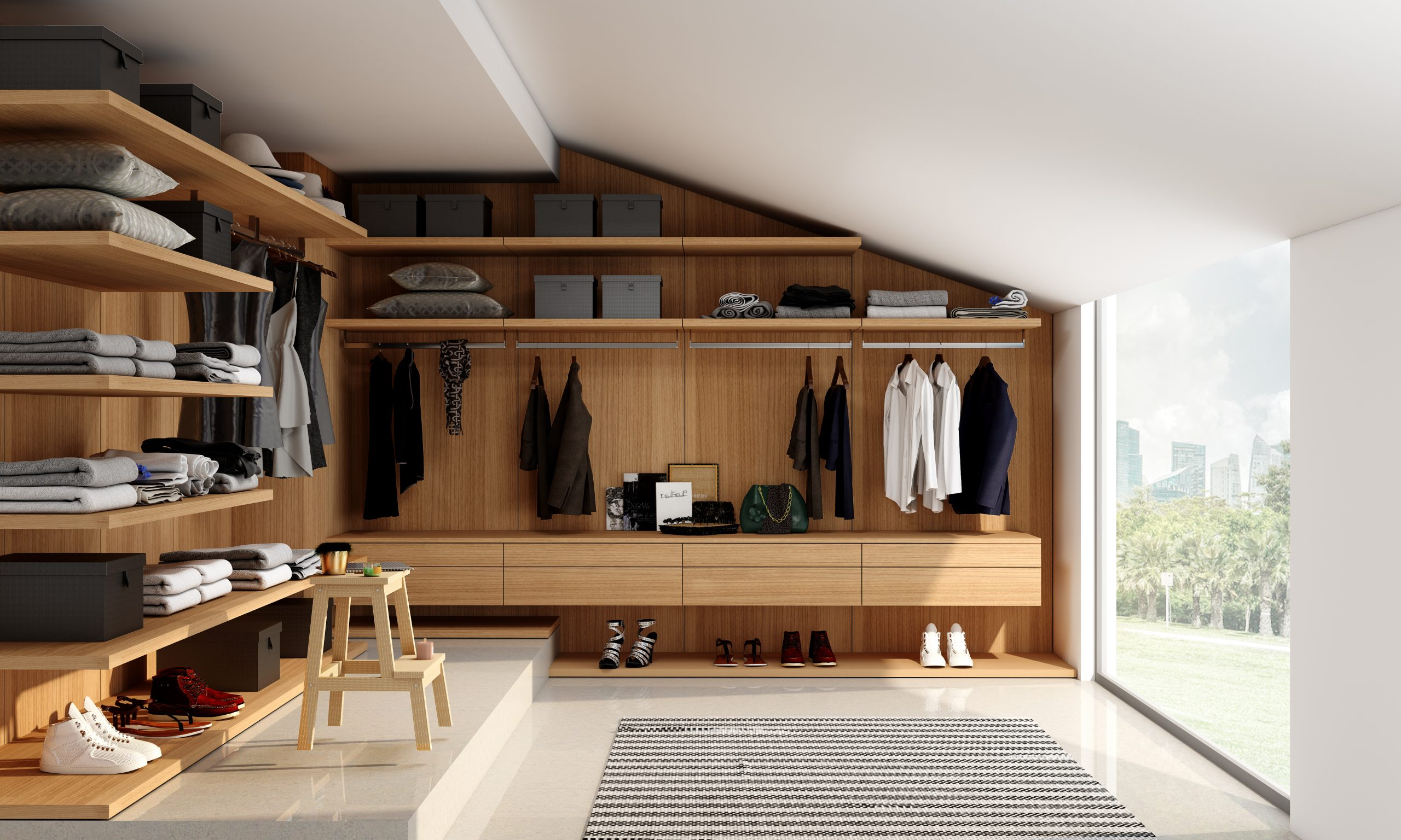 Fitted Walk in Wardrobe in Angle Wall With Verona Cherry Finish