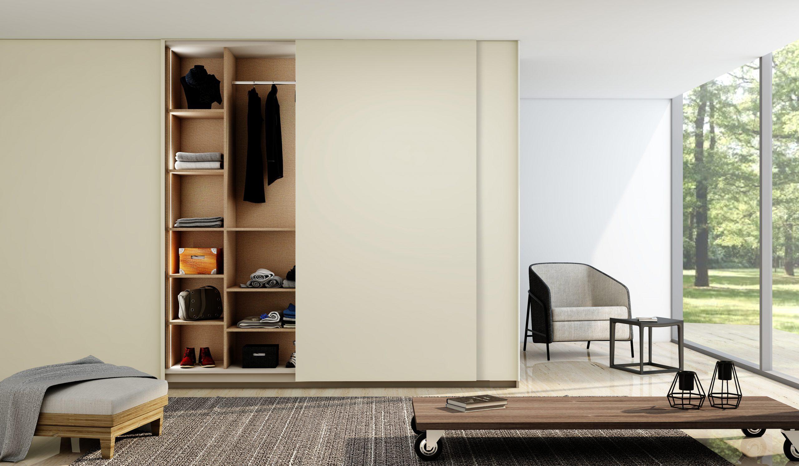 Fitted Sliding Door Wardrobe Frameless Top Hung Doors in Cream Matt Finish