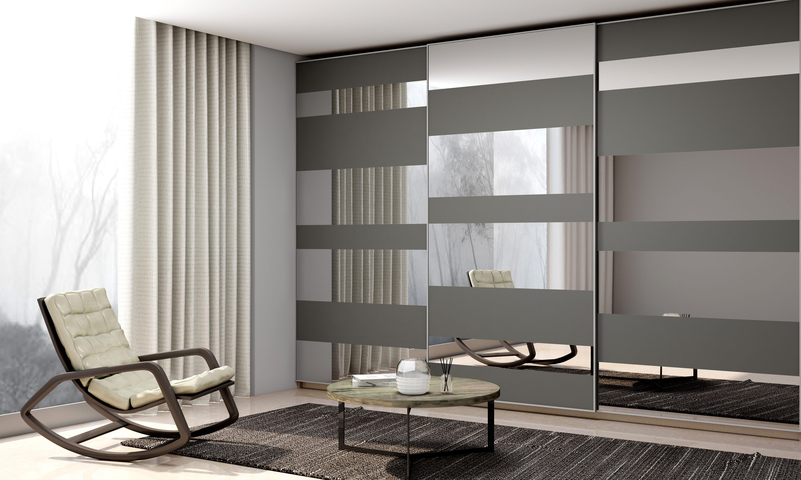 Framed Fitted Built-in Sliding Door Wardrobe in Silver Grey and Silver Mirrors Combinations