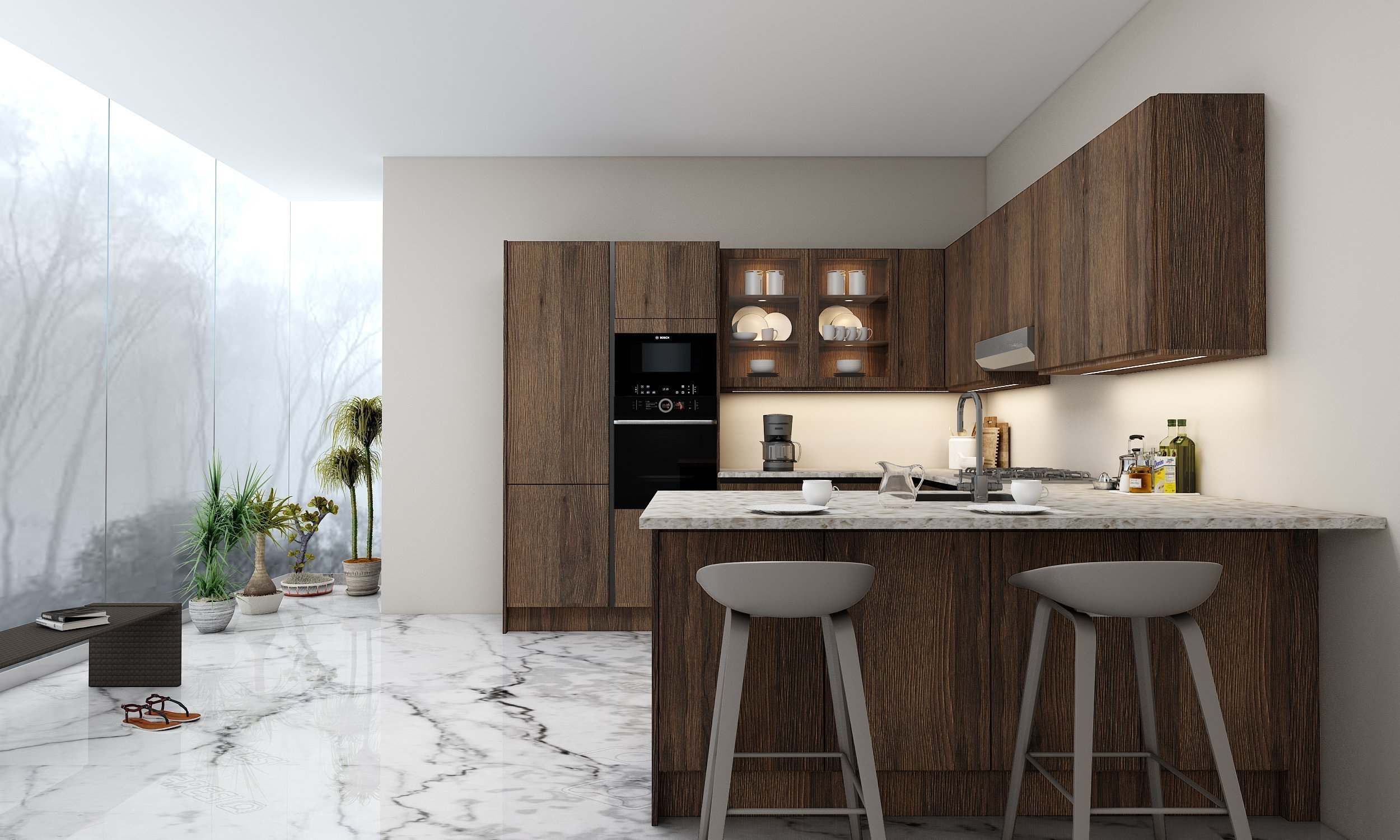 G shape Handleless Kitchen in Gladstone Oak with black handleless profile_1 (1)