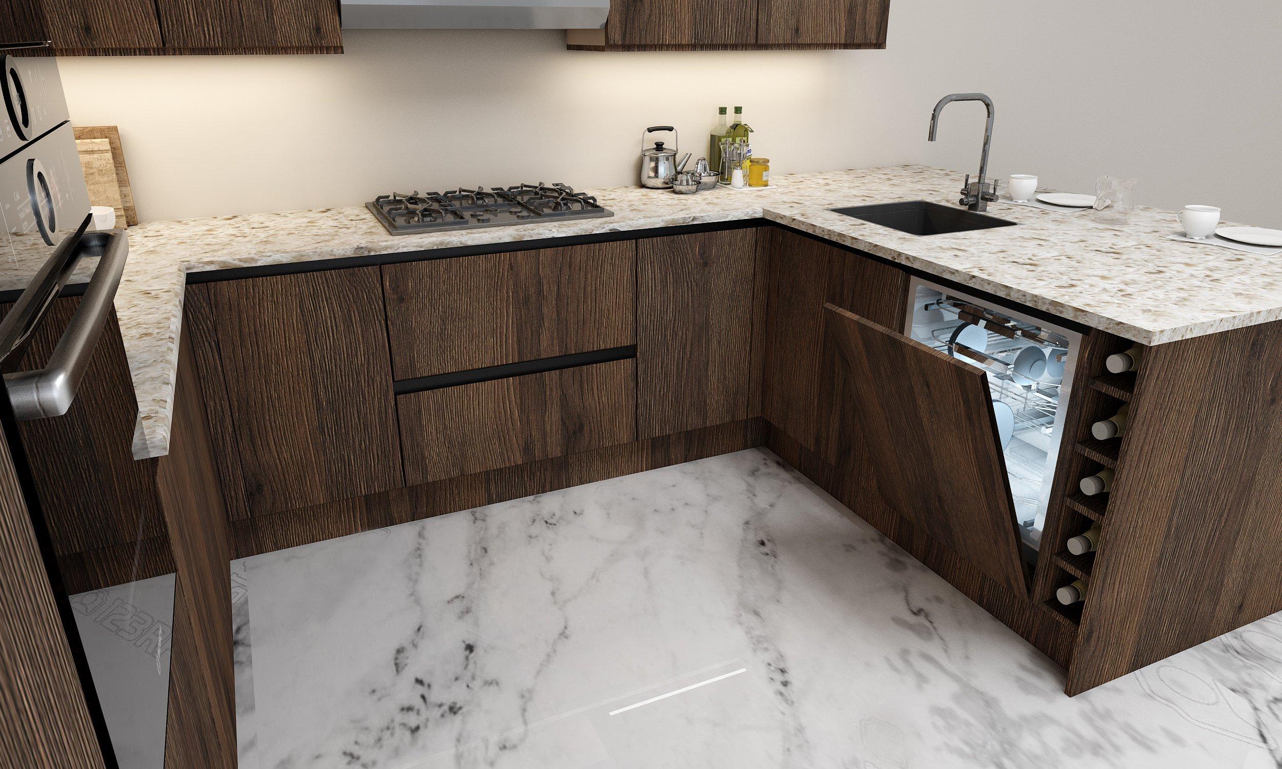 G Shape Handleless Wooden Kitchen in Gladstone Oak With Black Handleless
