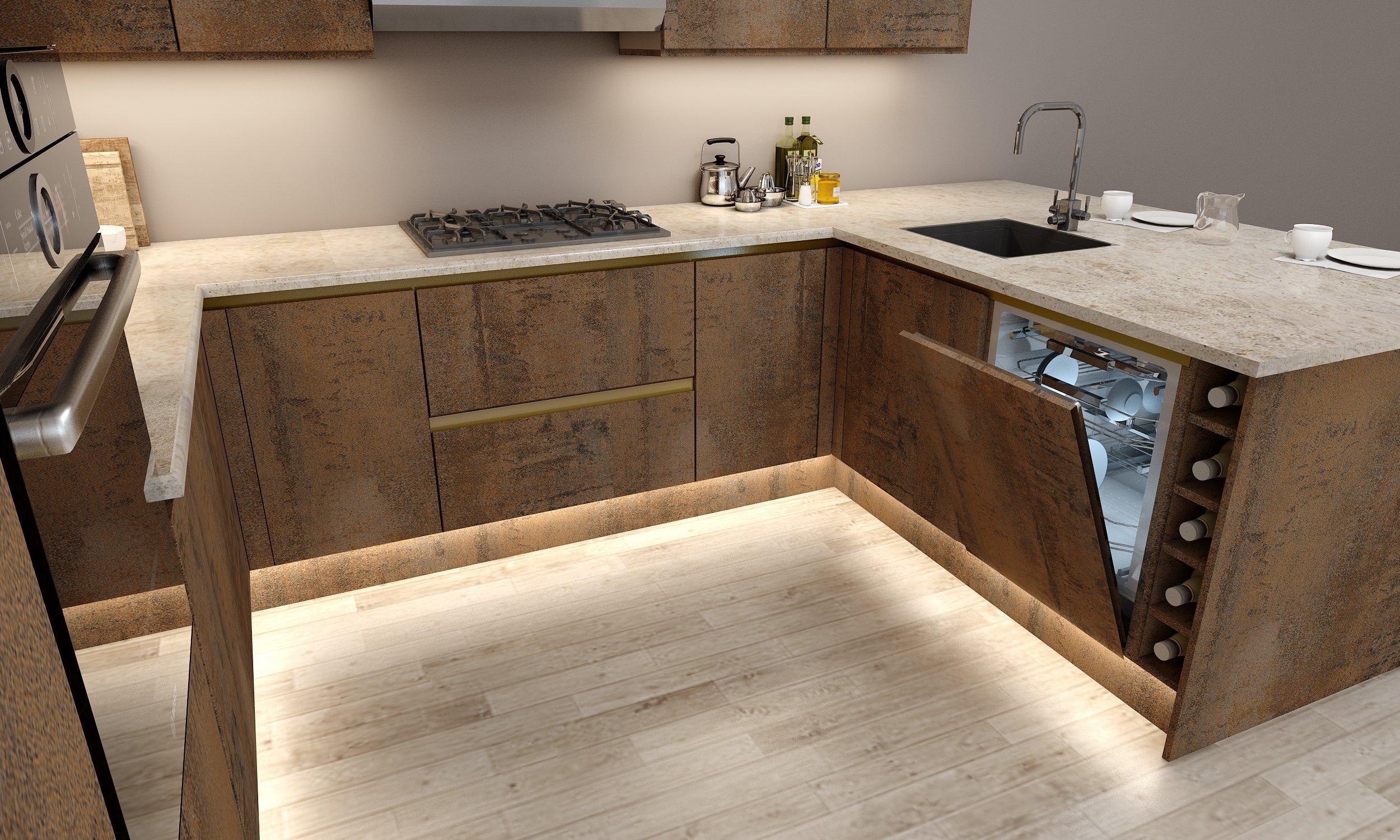 G Shape Handleless Quartz Kitchen in Oxide Finish With Gold Handleless Profile
