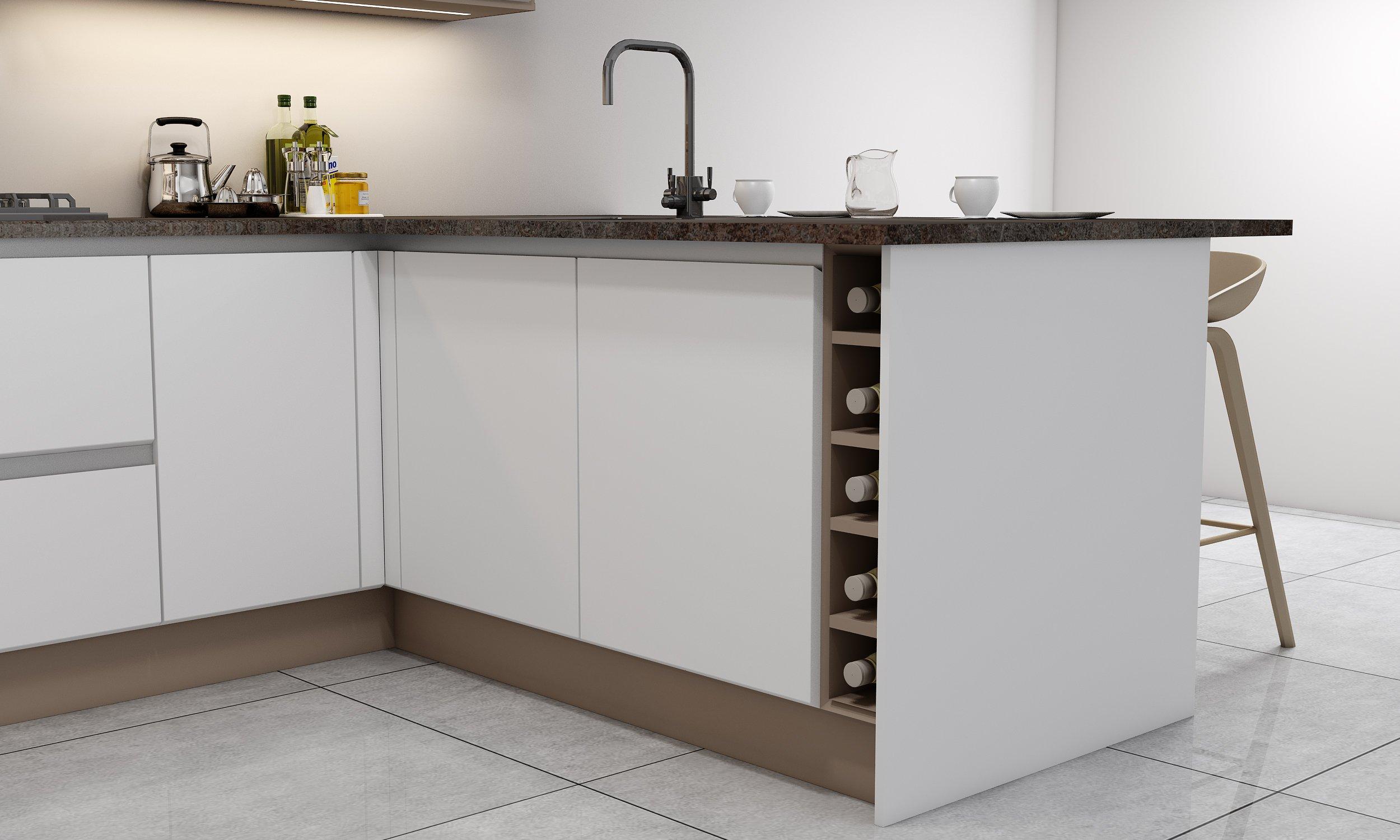 G Shape Handleless Kitchen in White Matt & Pebble Finish With Black Handle Along With Wine Rack