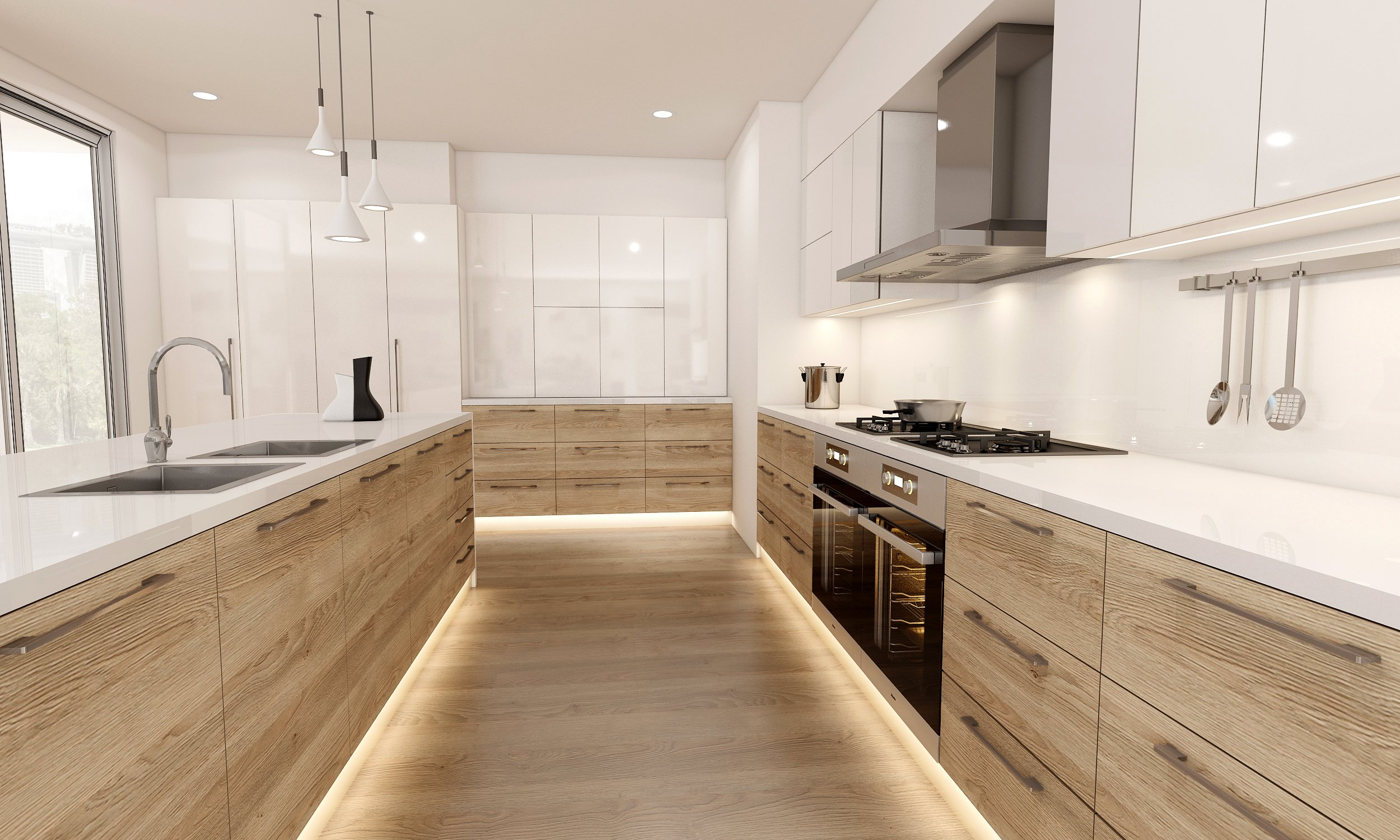 Wooden Fitted Kitchens of Wood Grain Light Walnut With Lacquered White Matt