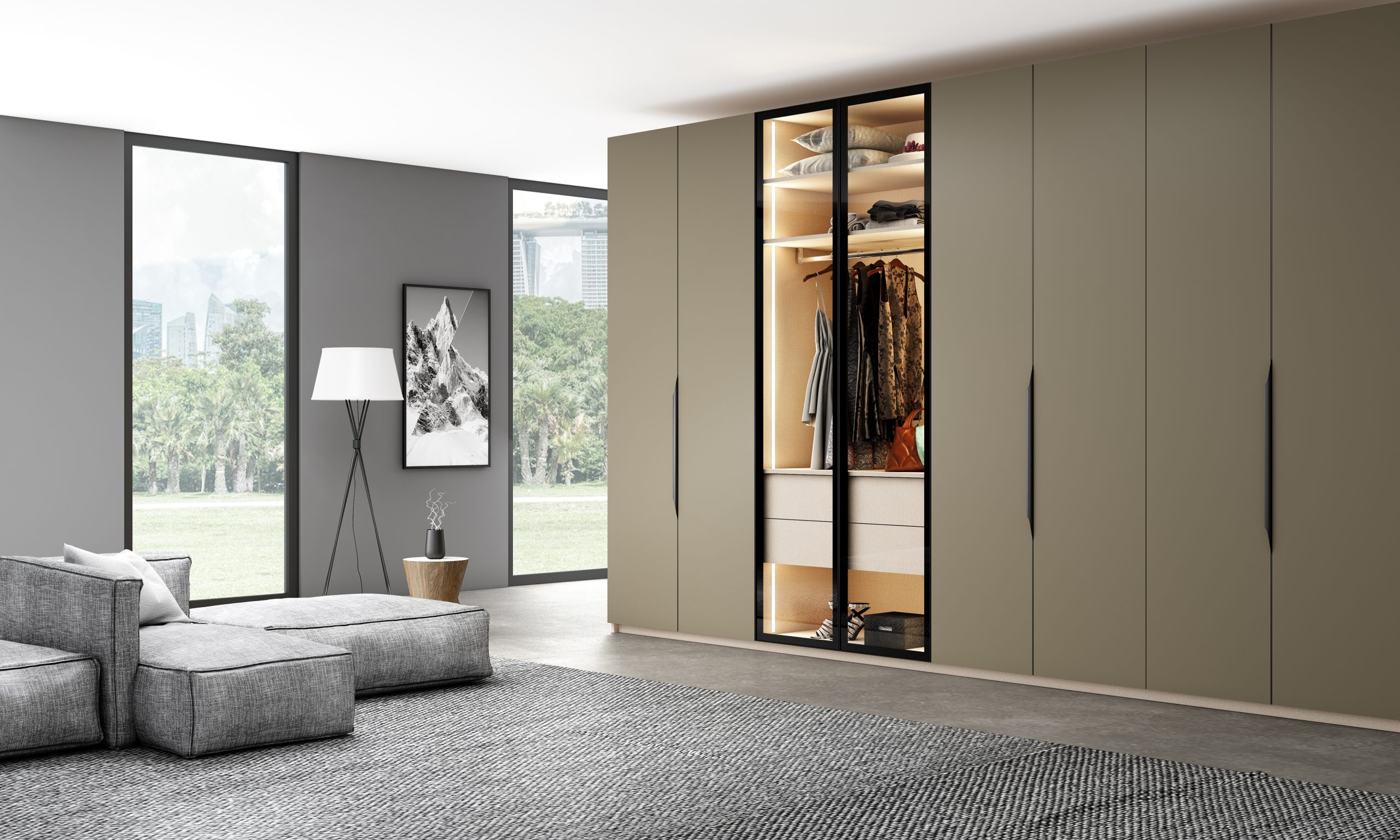 Hinged Fitted Wardrobe With Linear Glass Wardrobe in Brown-grey Finish