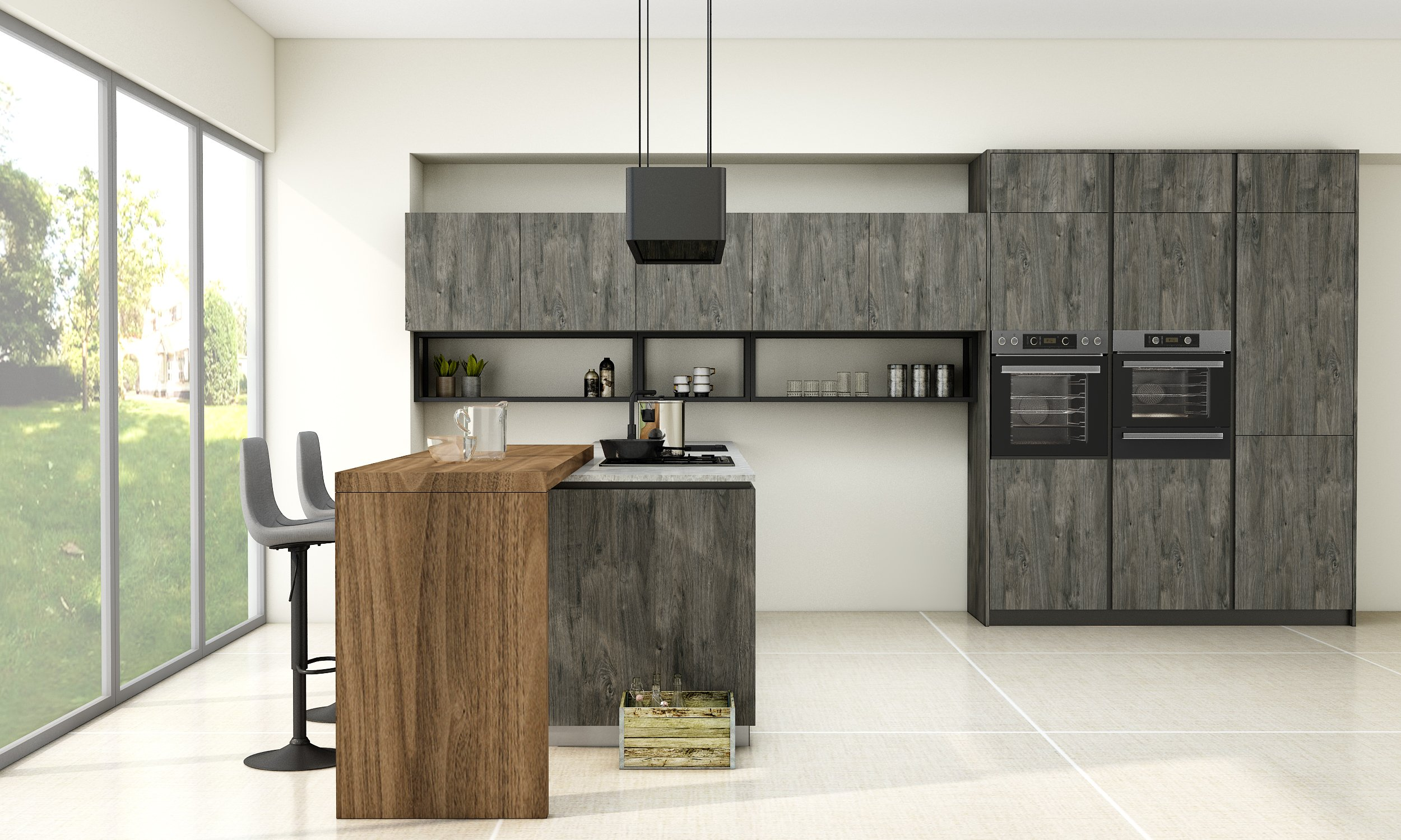 Handleless Kitchen With Black Handle Profile in Espresso Harbor Oak and Natural Walnut Finish