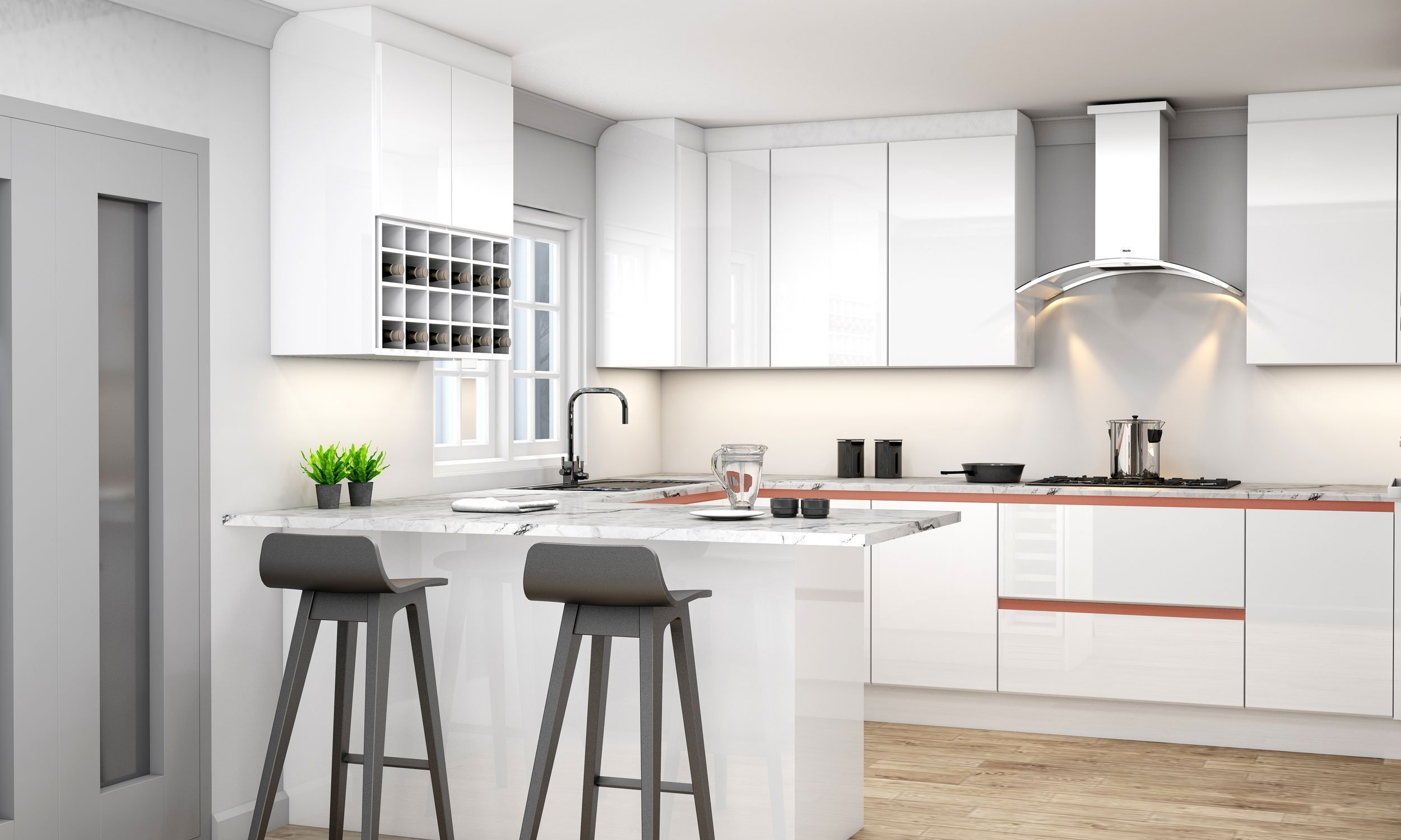 Handleless G Shape Kitchen in Brass Handle Profile With High Gloss White and Concrete Finish