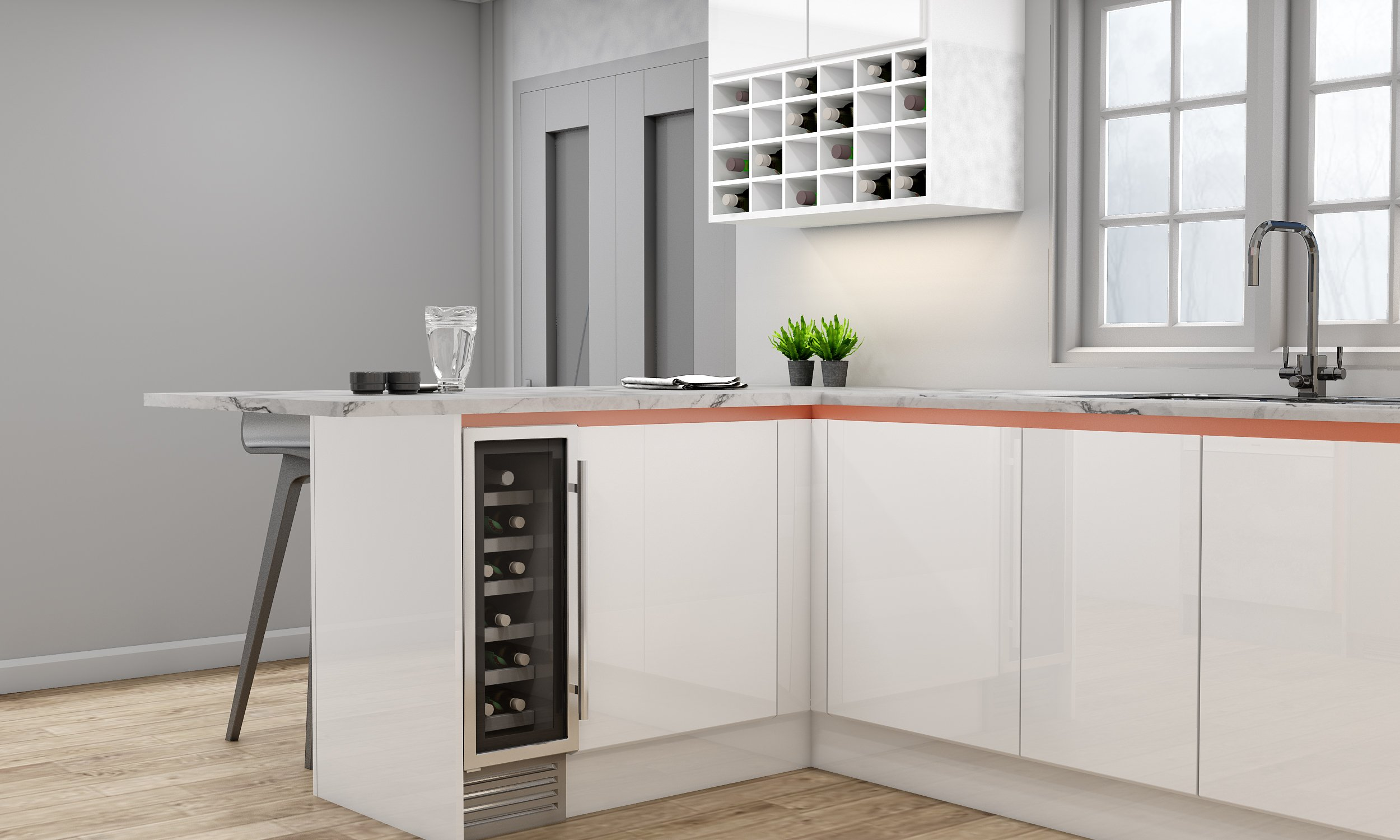 Handleless G Shape Kitchen in Brass Handle Profile With High Gloss White and Concrete Finish and Wine Rack
