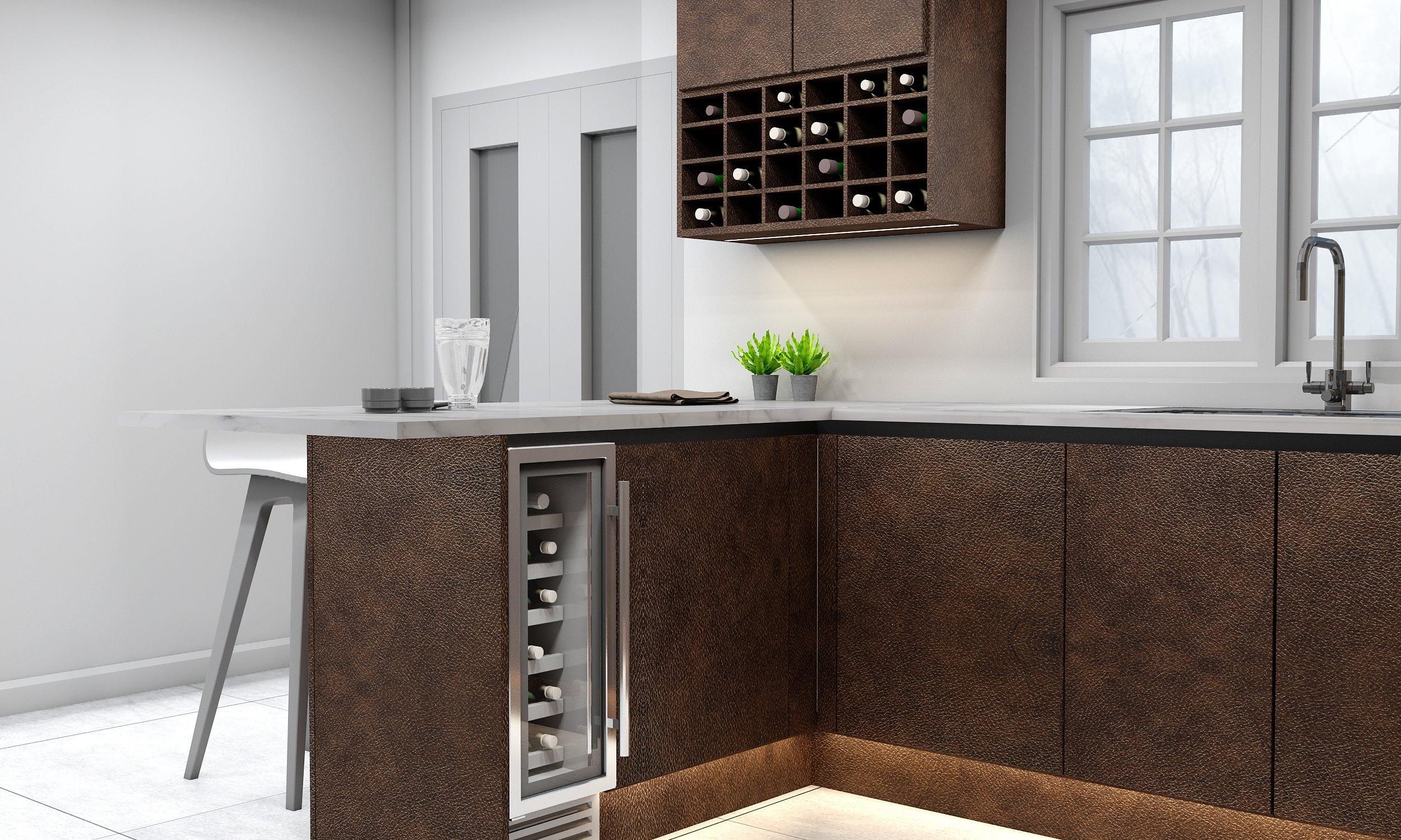 Premiumline kitchen with Bronze finish with black handle profile.
