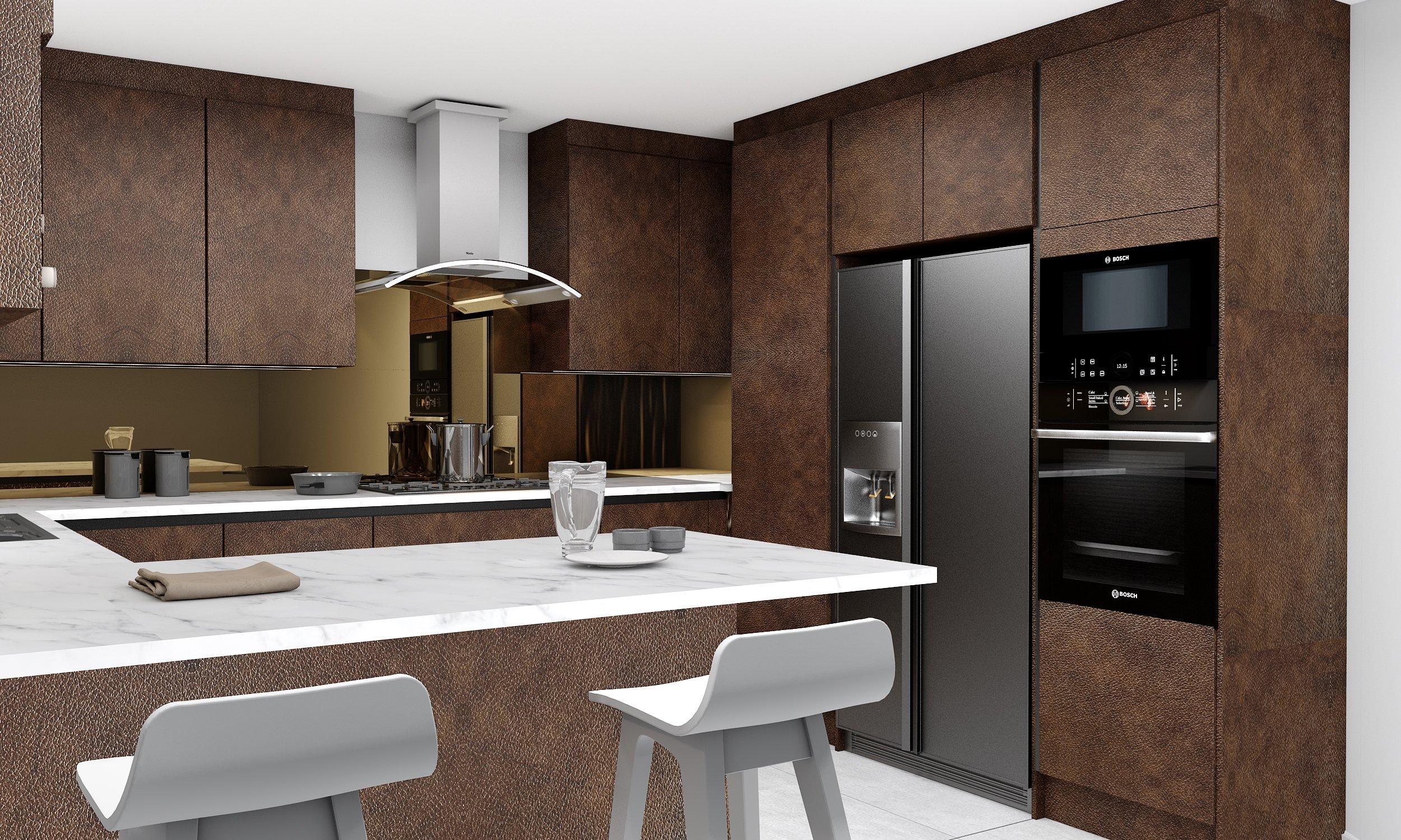 Handleless Kitchen in bronze finish.