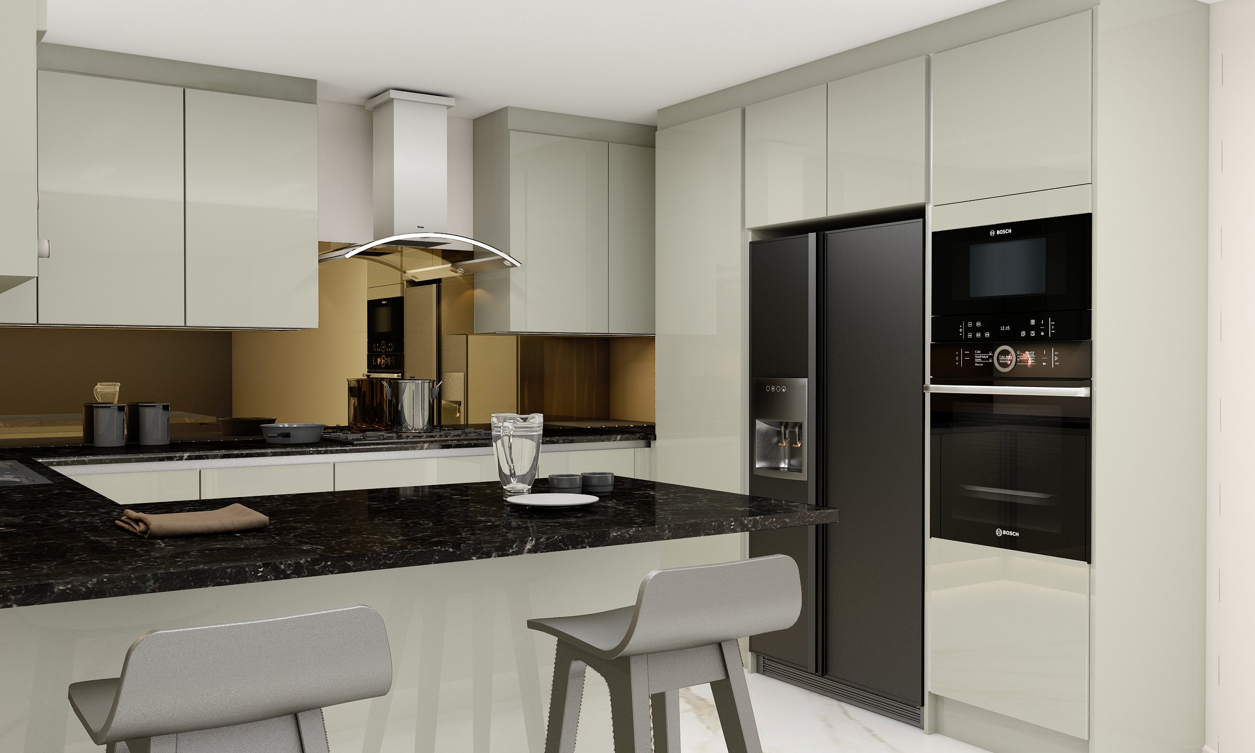 Handleless G Shape Kitchen in Silver Handle Profile With High Gloss khaki Grey Finish Wine Rack