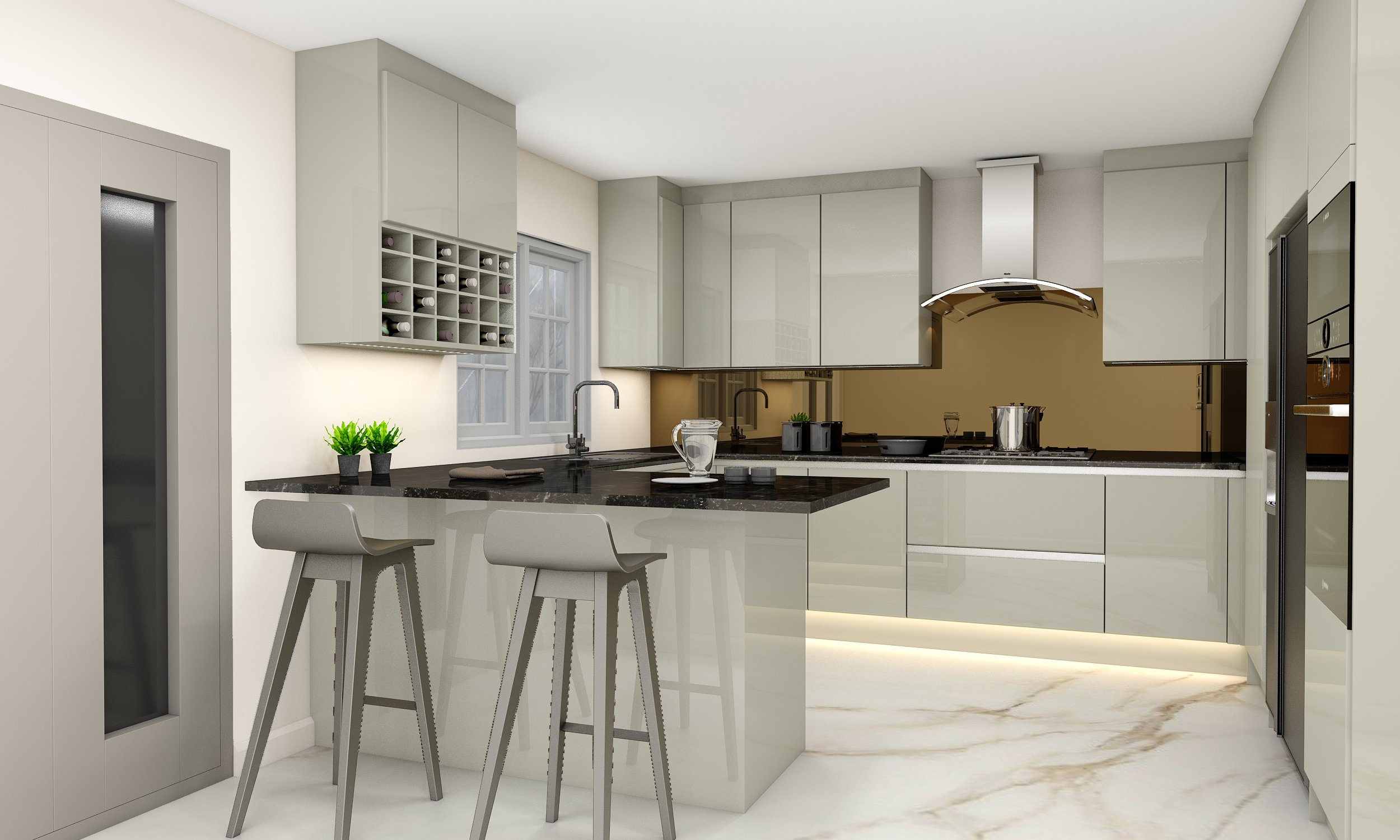 Handleless G Shape Kitchen in Silver Handle Profile With High Gloss Khaki Grey Finish