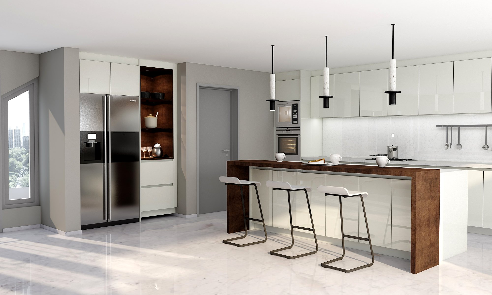 Handlless Gloss Kitchen in Lights Grey Gloss With Island and Breakfast Bar